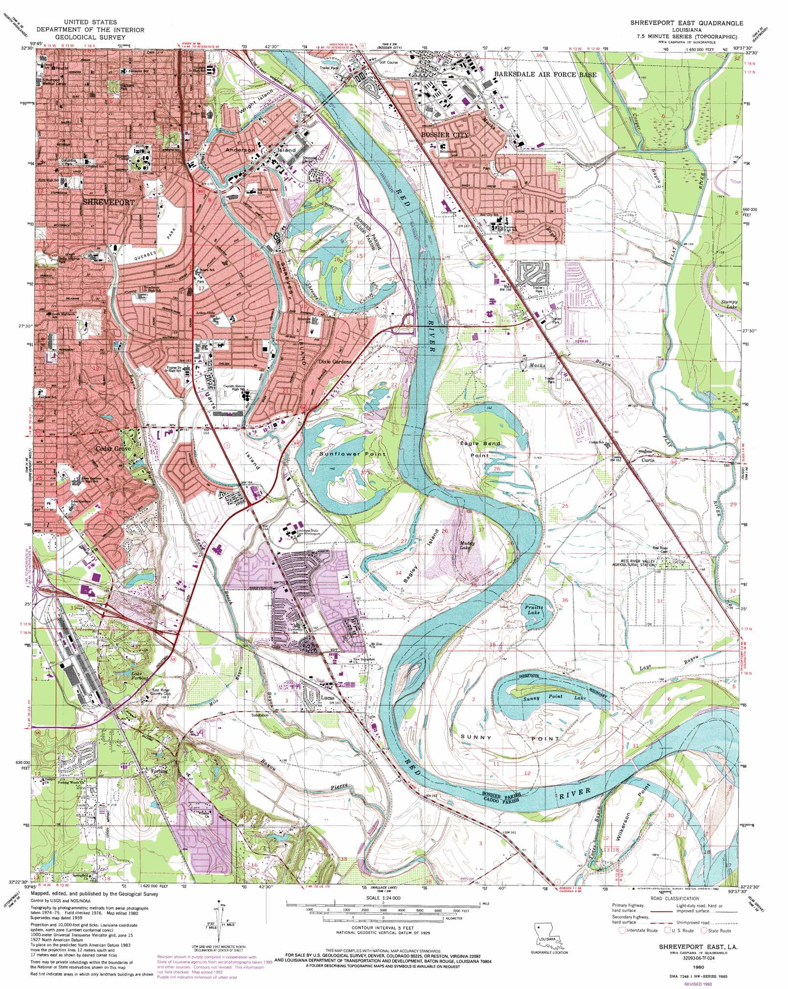 Shreveport East topographic map LA USGS Topo Quad 32093d6