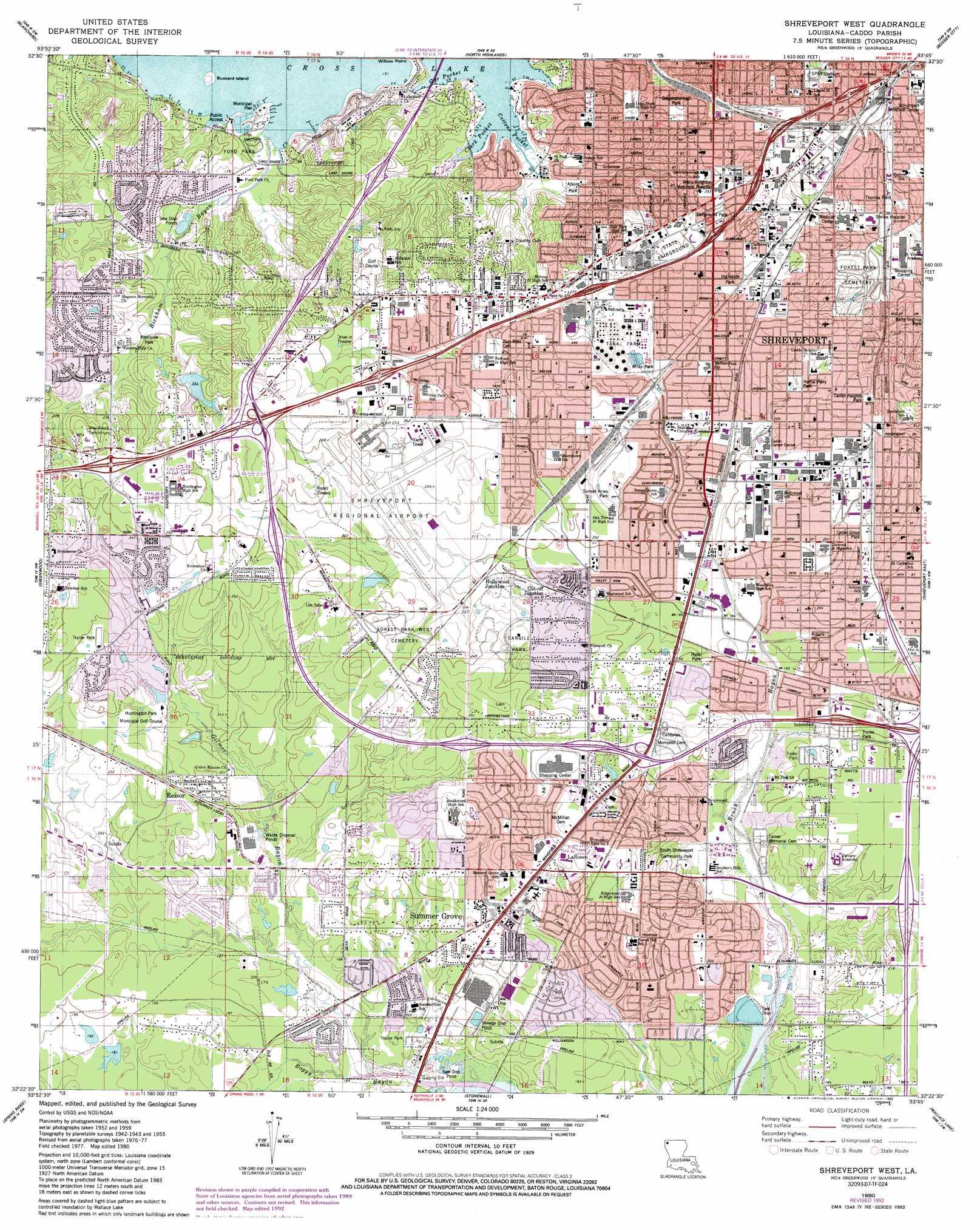Shreveport West Topographic Map LA  USGS Topo Quad 32093d7