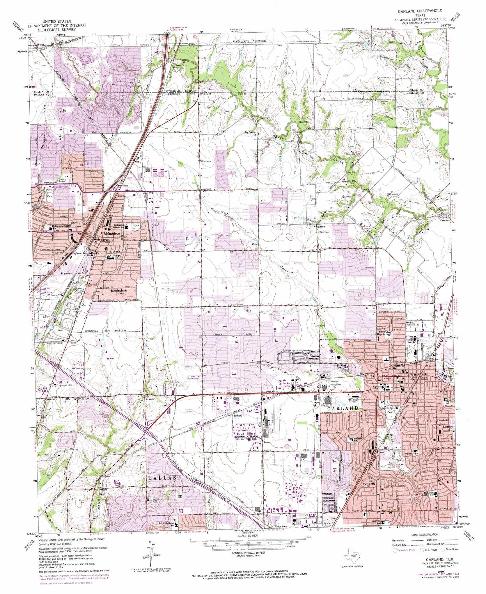 Garland Topographic Map TX  USGS Topo Quad 32096h6