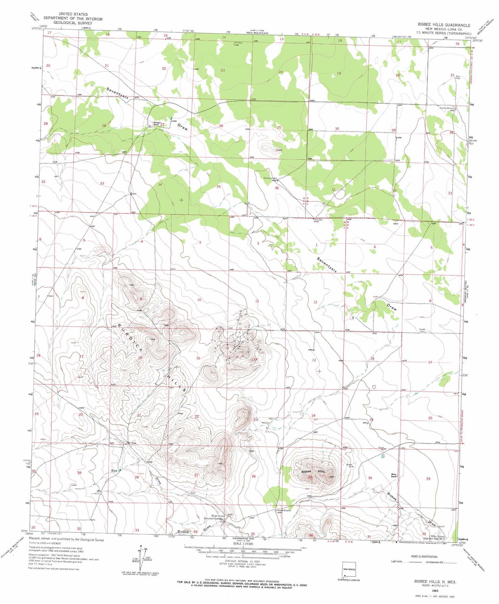 Bisbee hills topographic map nm usgs topo quad 32107a8 bisbee hills buycottarizona Image collections