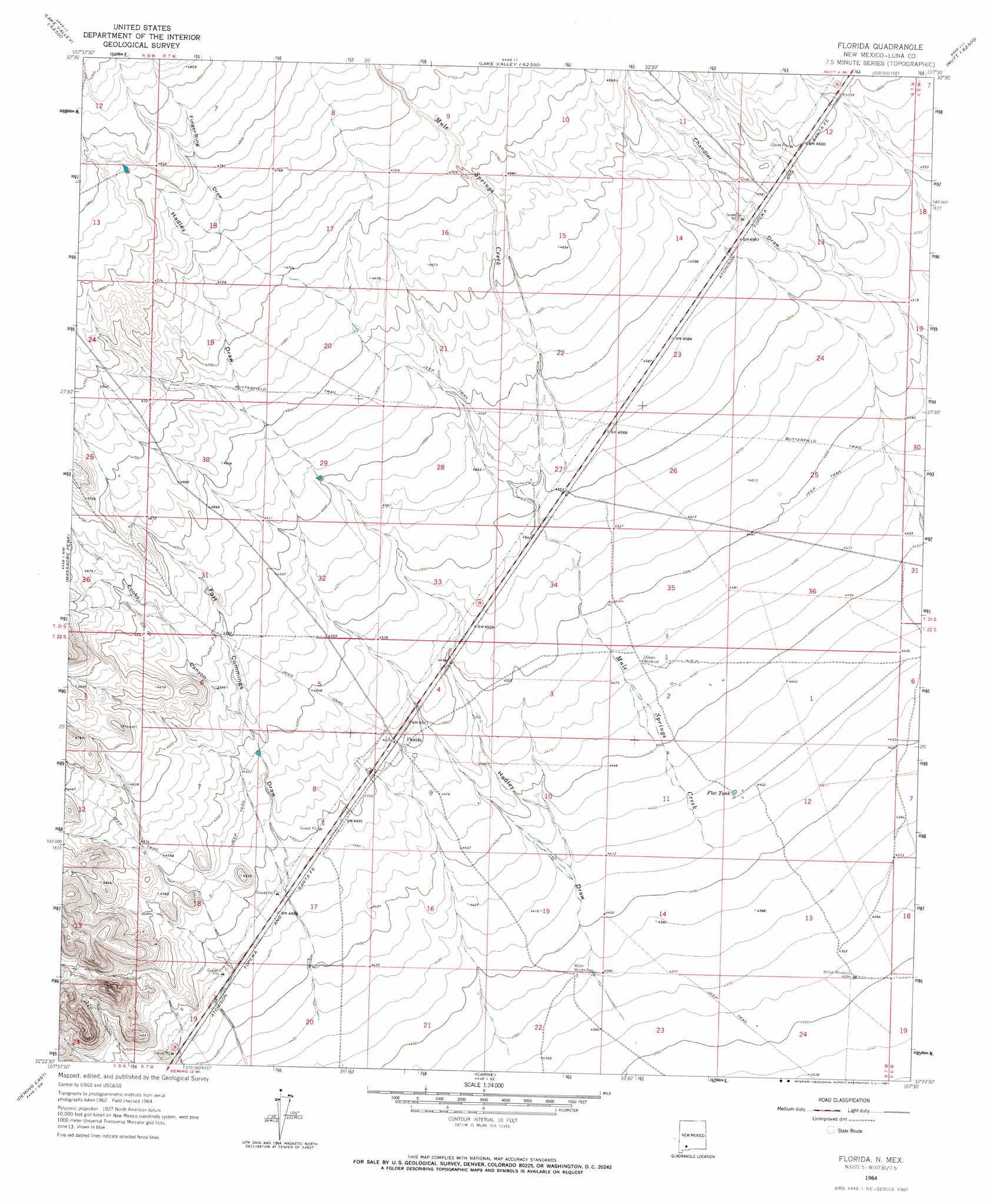 Florida Topographic Map NM USGS Topo Quad D - Florida quad map