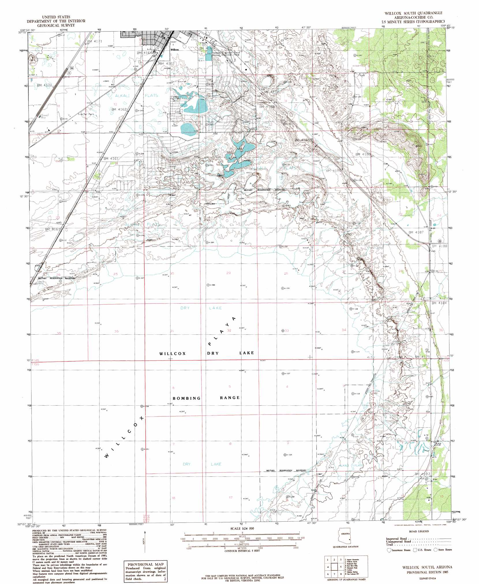 Willcox South Topographic Map AZ  USGS Topo Quad 32109b7