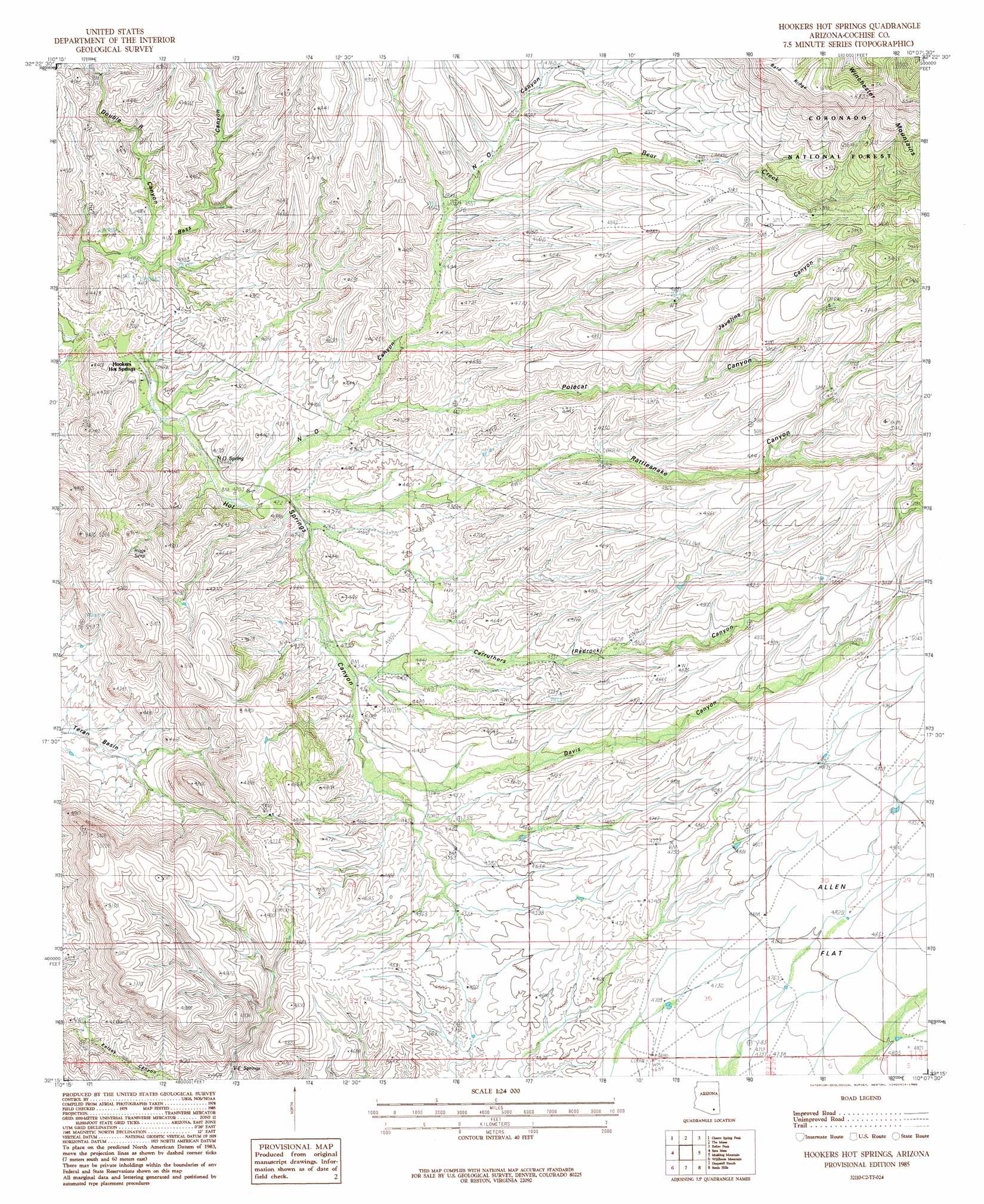 Hookers Hot Springs Topographic Map AZ  USGS Topo Quad