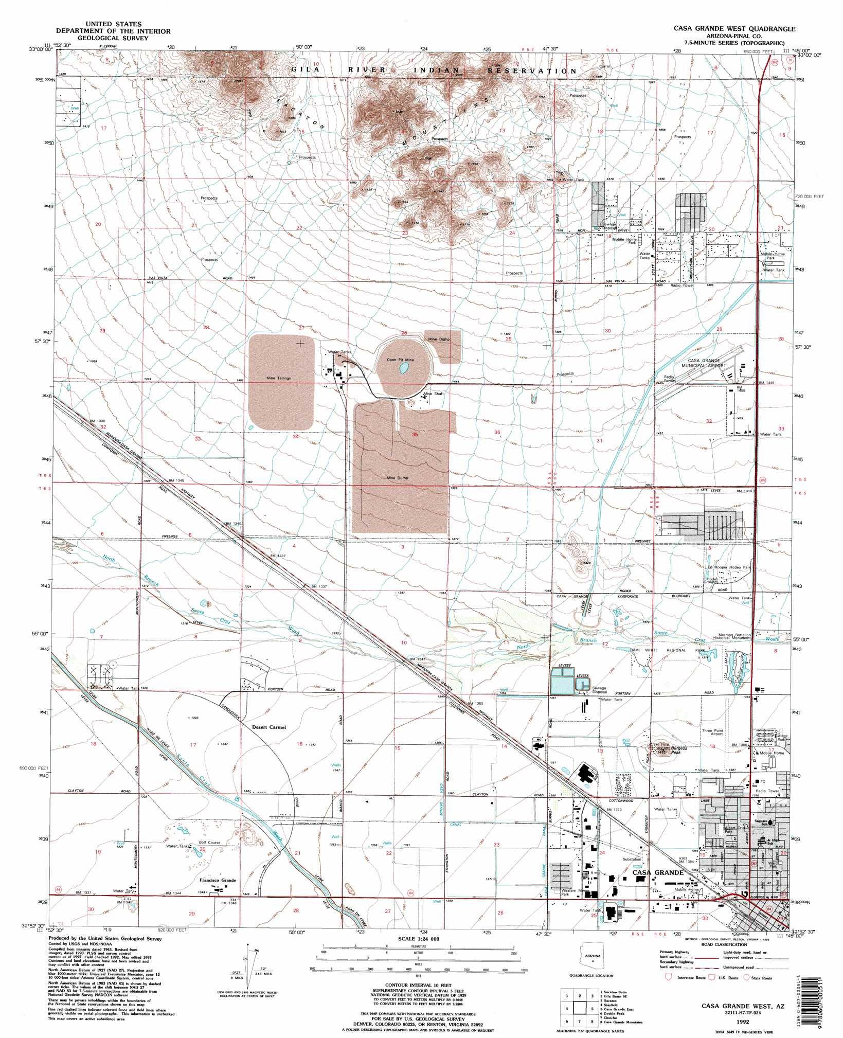 Casa Grande West topographic map, AZ - USGS Topo Quad 32111h7 on