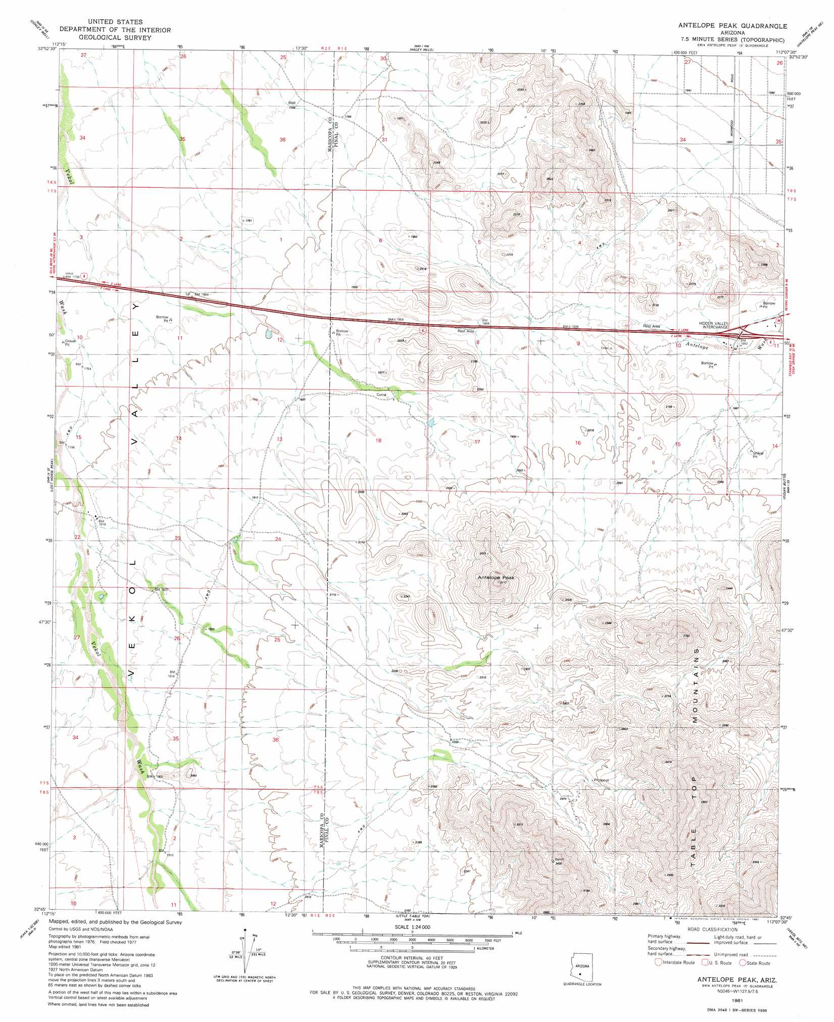 Antelope Peak Topographic Map AZ USGS Topo Quad G - Arizona topographic map
