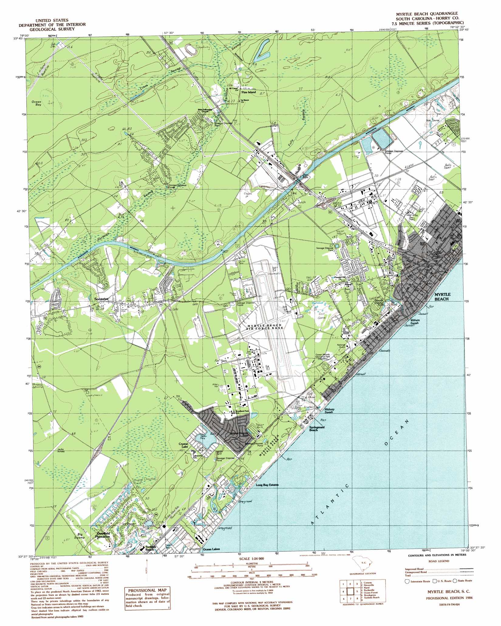Myrtle Beach Topographic Map Sc Usgs Topo Quad 33078f8