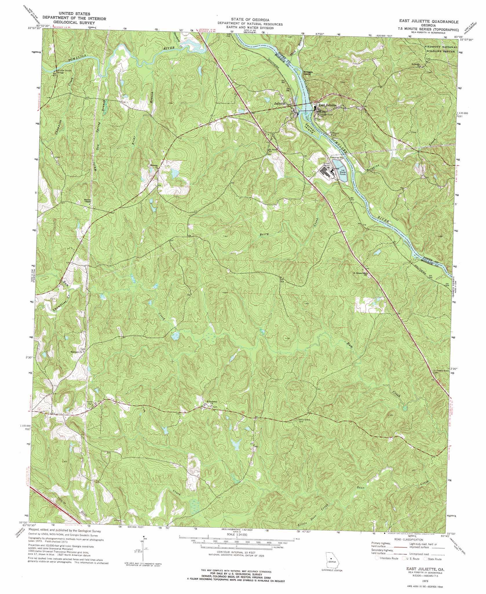 East Juliette Topographic Map GA USGS Topo Quad A - Juliette georgia map