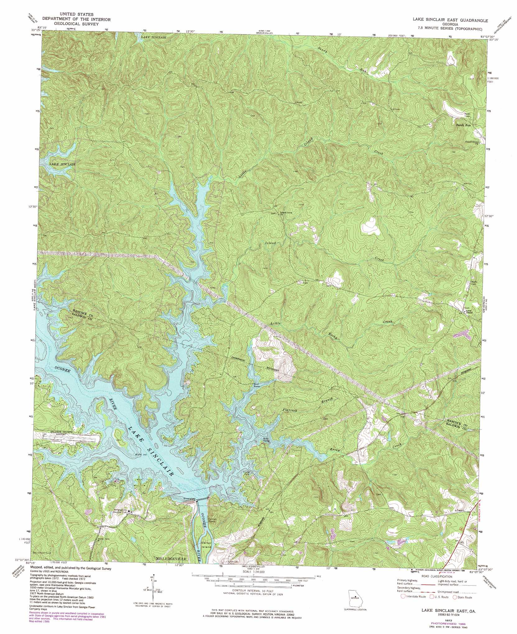 Lake Sinclair East Topographic Map GA USGS Topo Quad B - Georgia map lakes