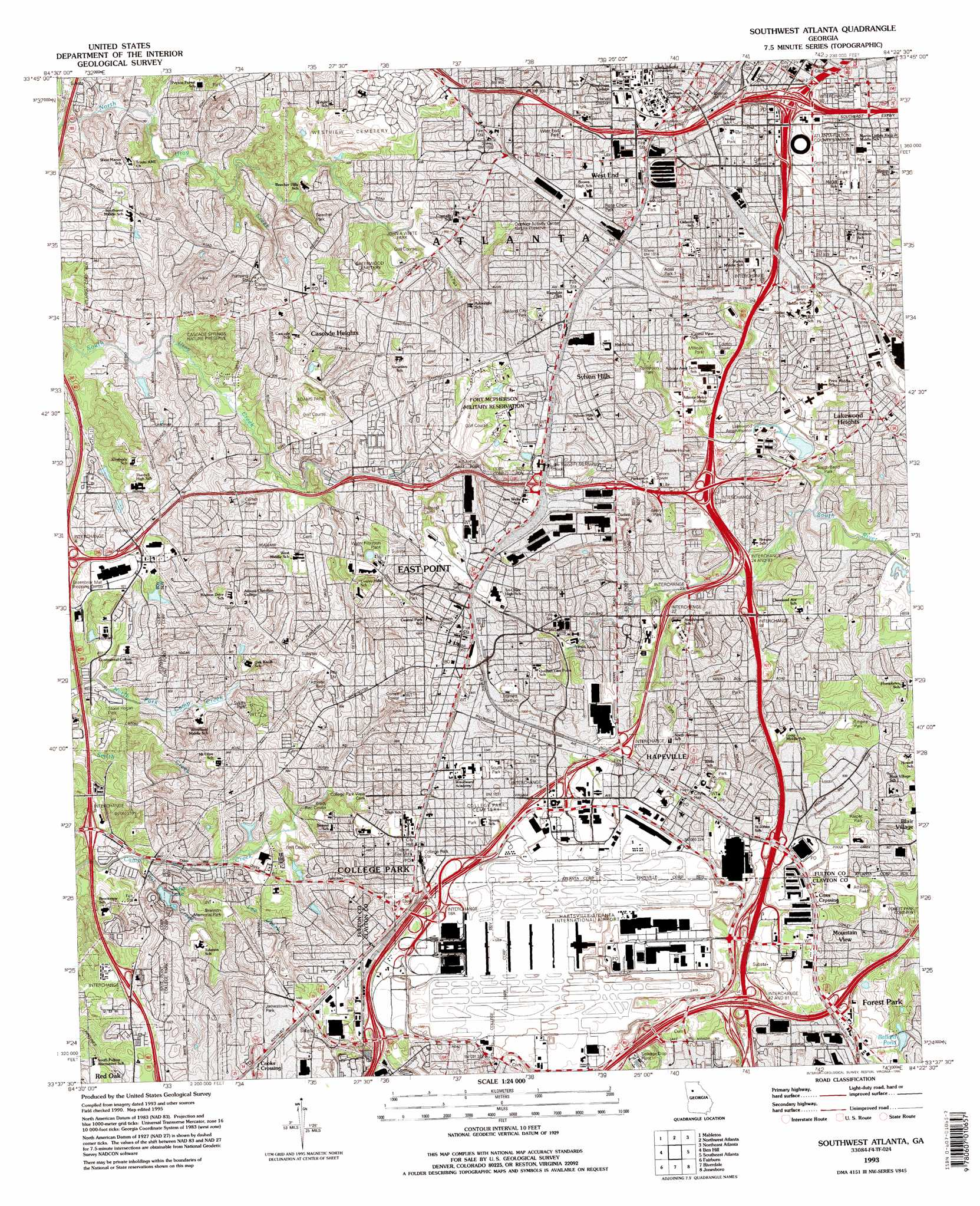 Southwest Atlanta Topographic Map GA USGS Topo Quad F - Map of georgia fayetteville