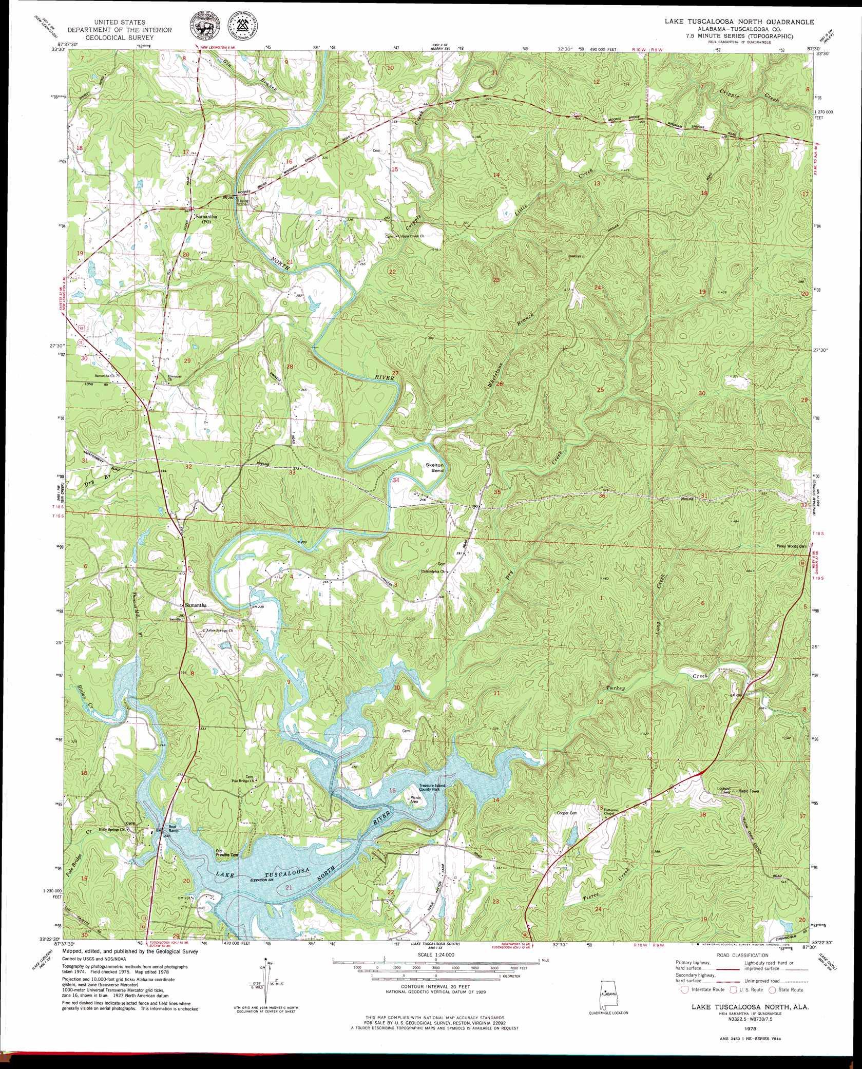 Lake Tuscaloosa North topographic map AL USGS Topo Quad 33087d5