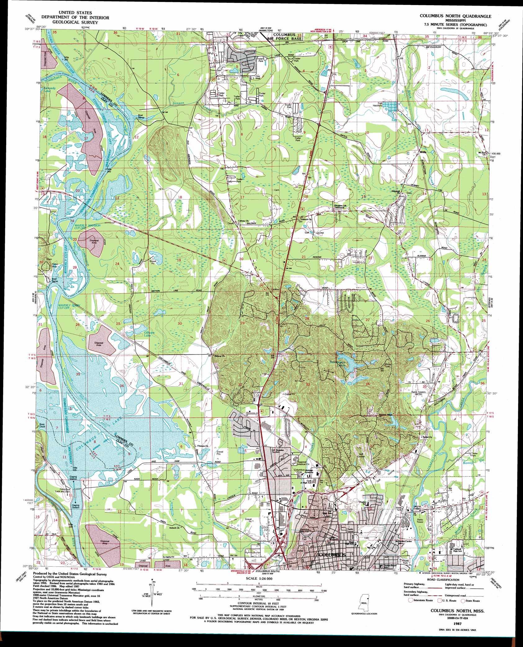 Columbus North Topographic Map MS  USGS Topo Quad 33088e4
