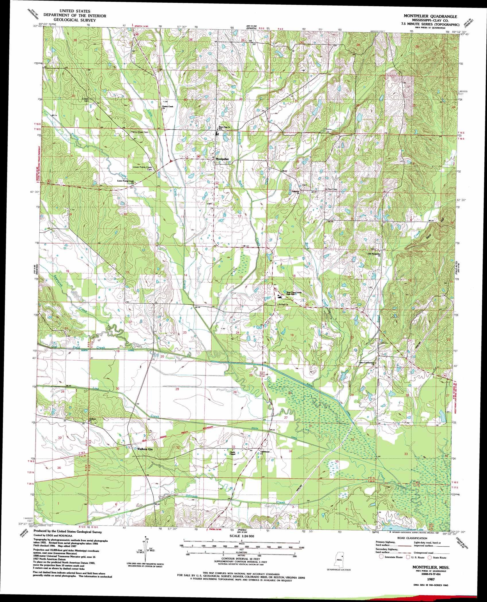 Montpelier Topographic Map MS  USGS Topo Quad 33088f8