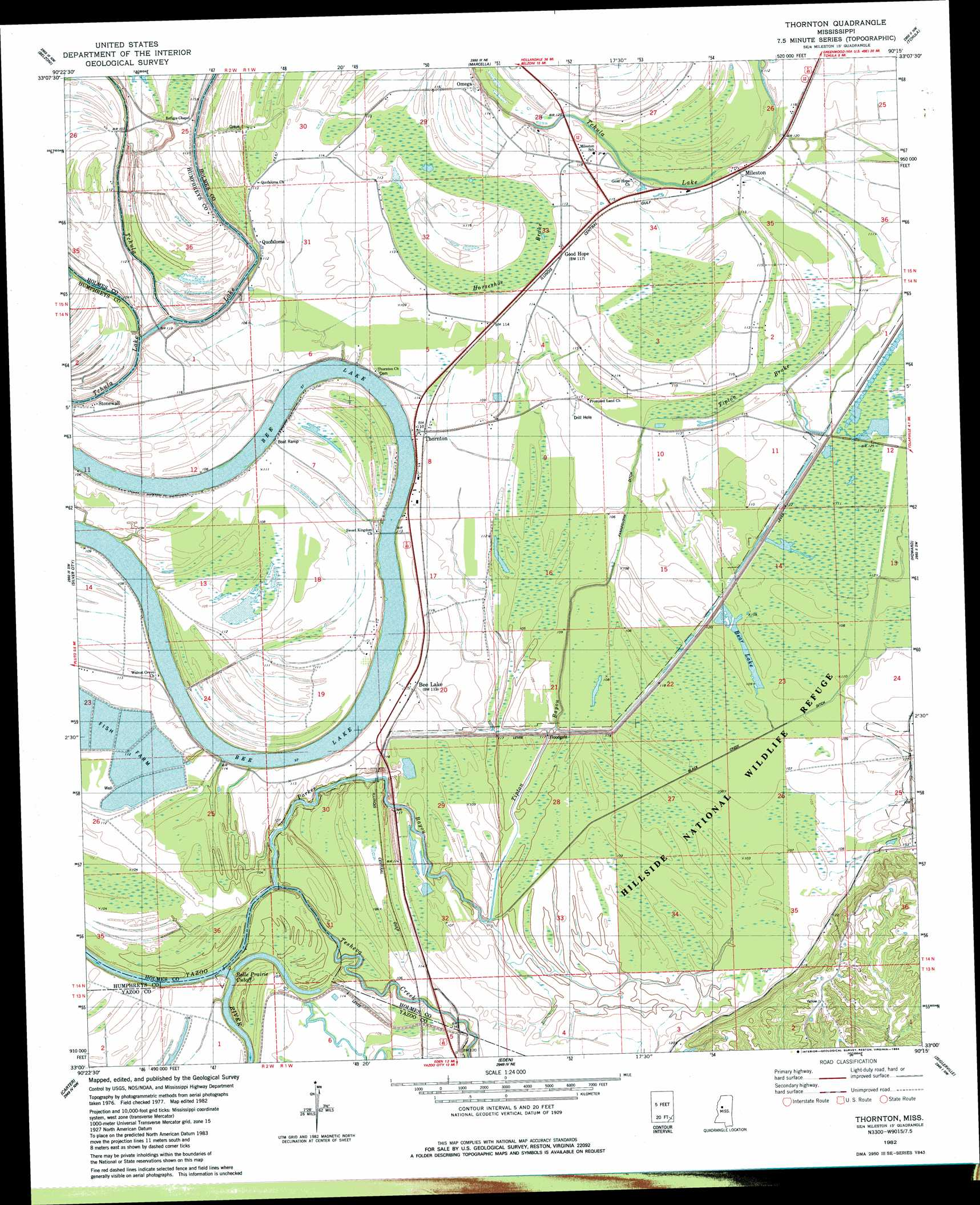 Thornton topographic map MS USGS Topo Quad 33090a3