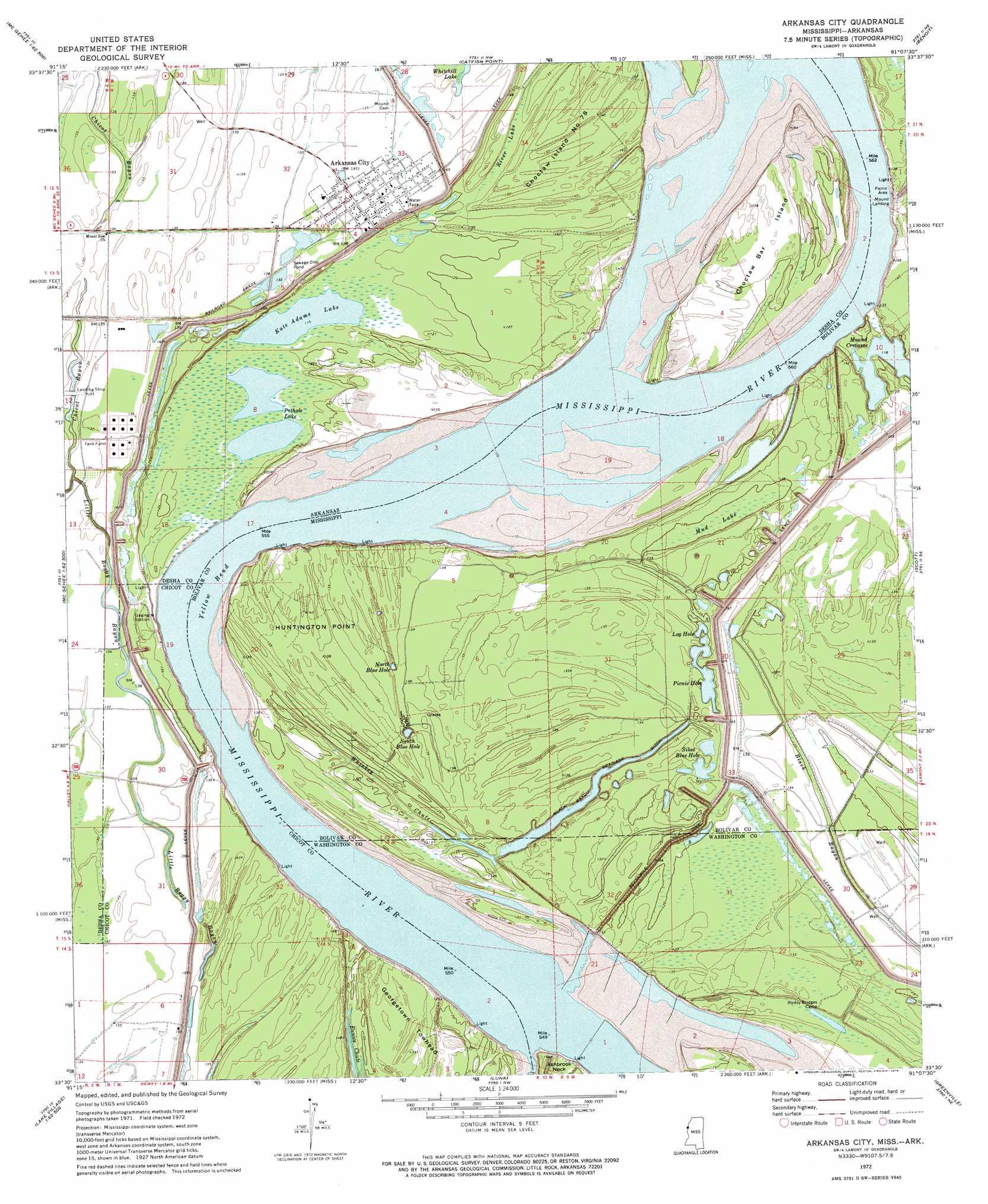 Arkansas City topographic map, AR, MS - USGS Topo Quad 33091e2