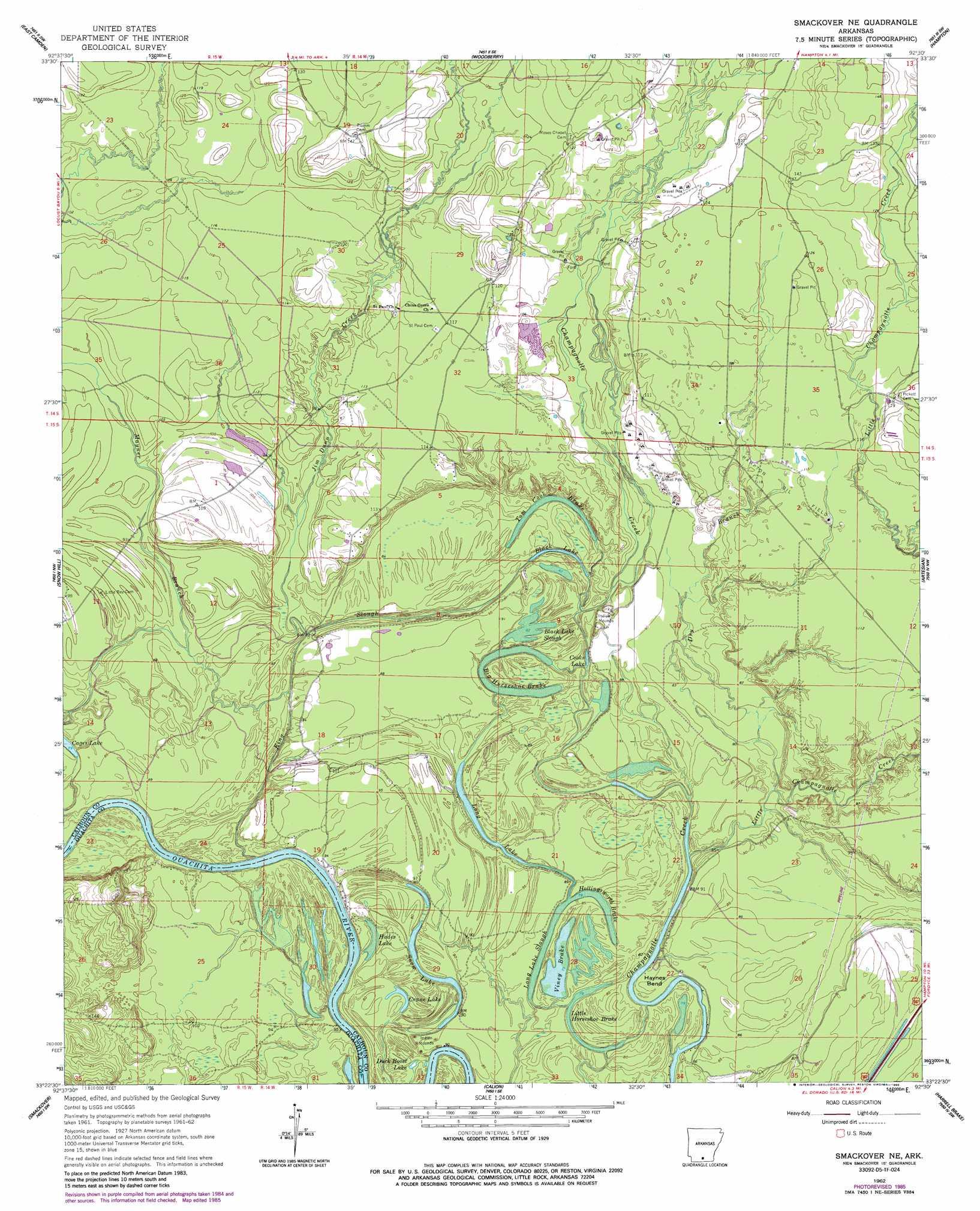 Smackover Ne topographic map, AR - USGS Topo Quad 33092d5