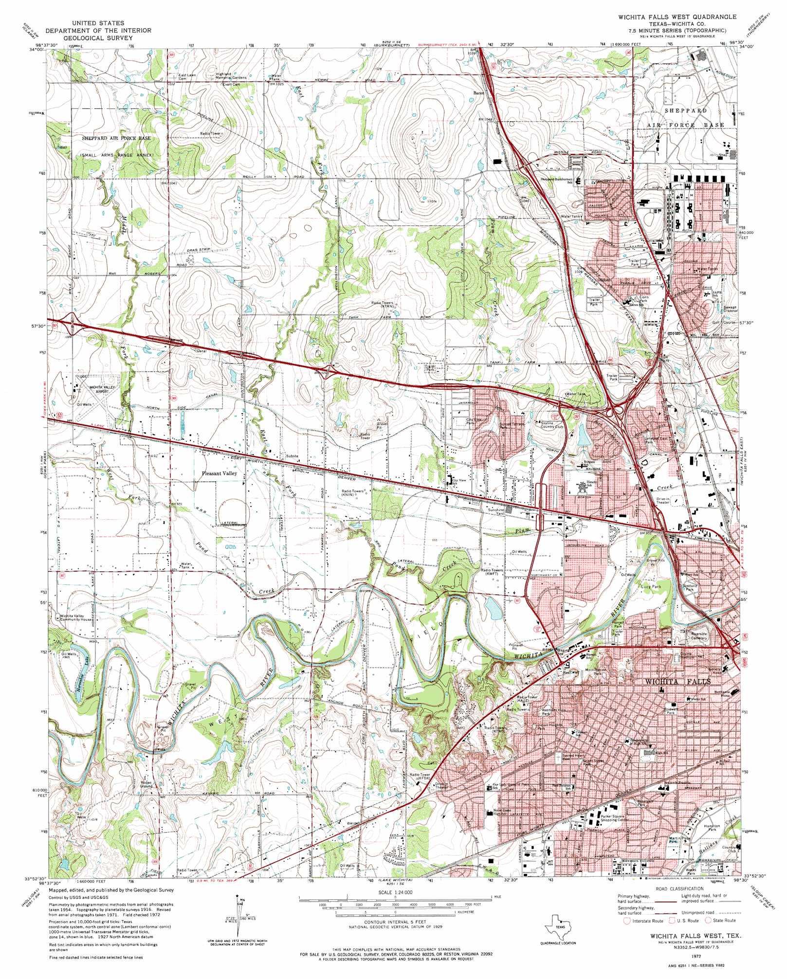 Wichita Falls West topographic map TX USGS Topo Quad 33098h5
