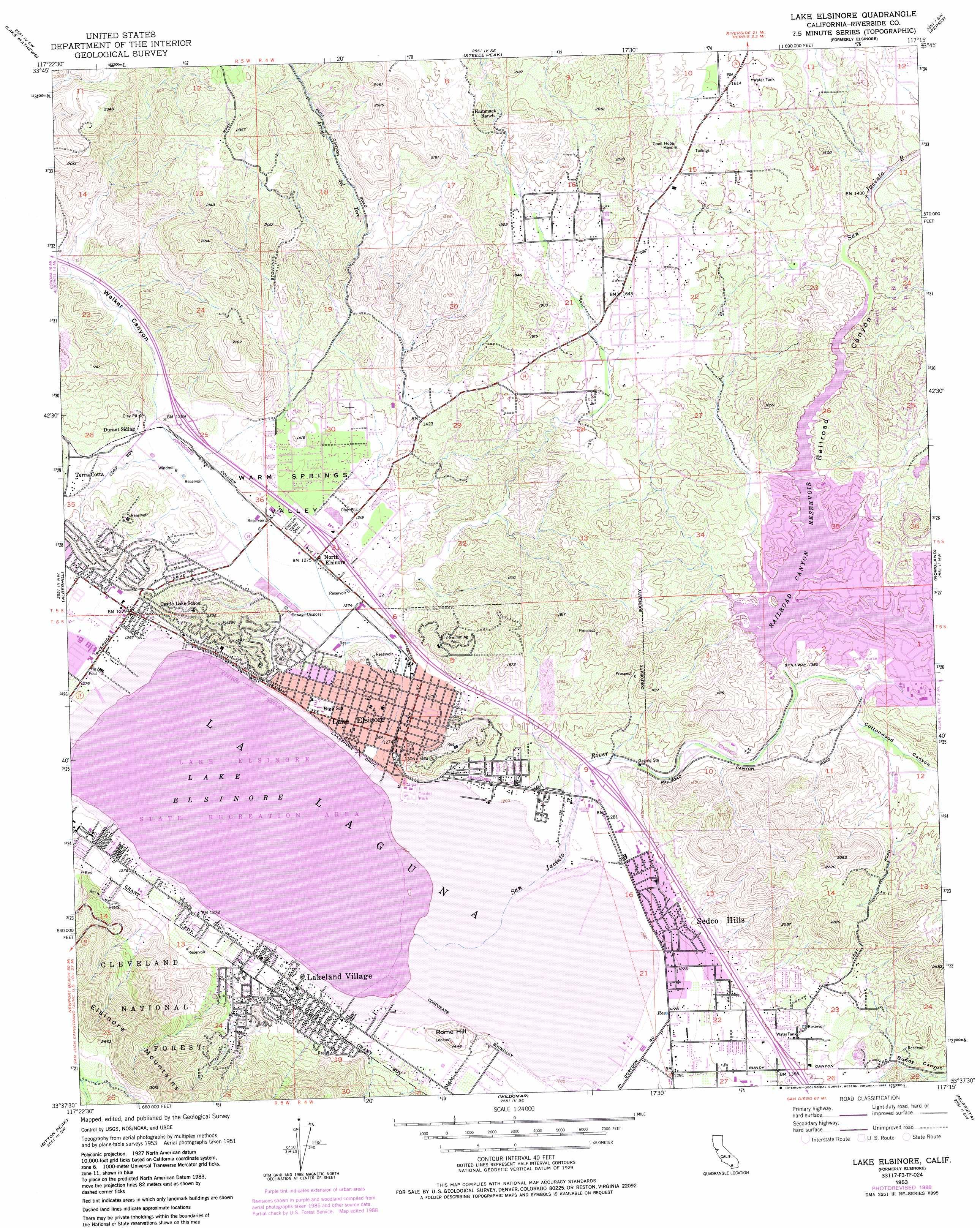Lake Elsinore topographic map CA USGS Topo Quad 33117f3