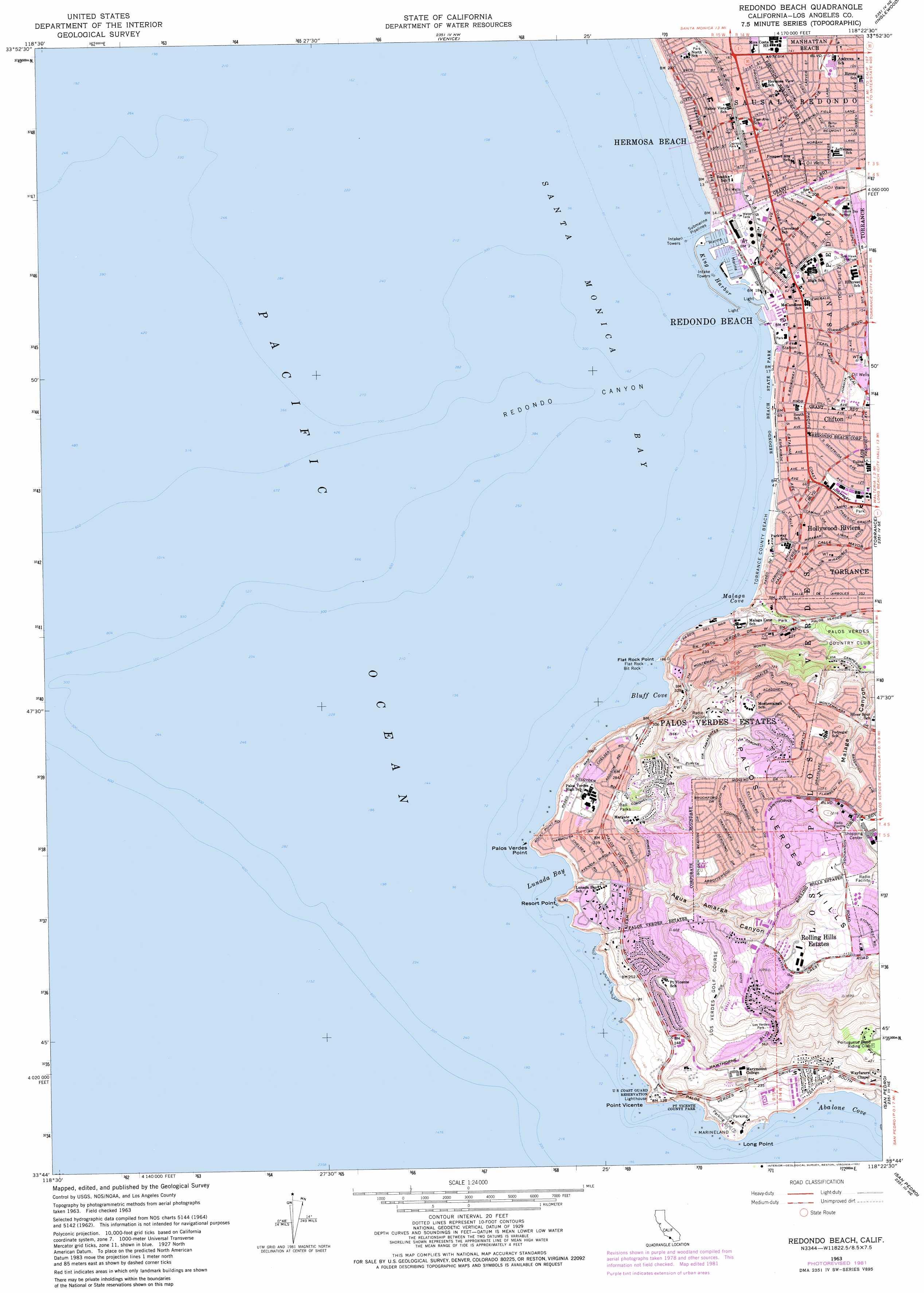 Redondo Beach Topographic Map Ca Usgs Topo Quad 33118g4
