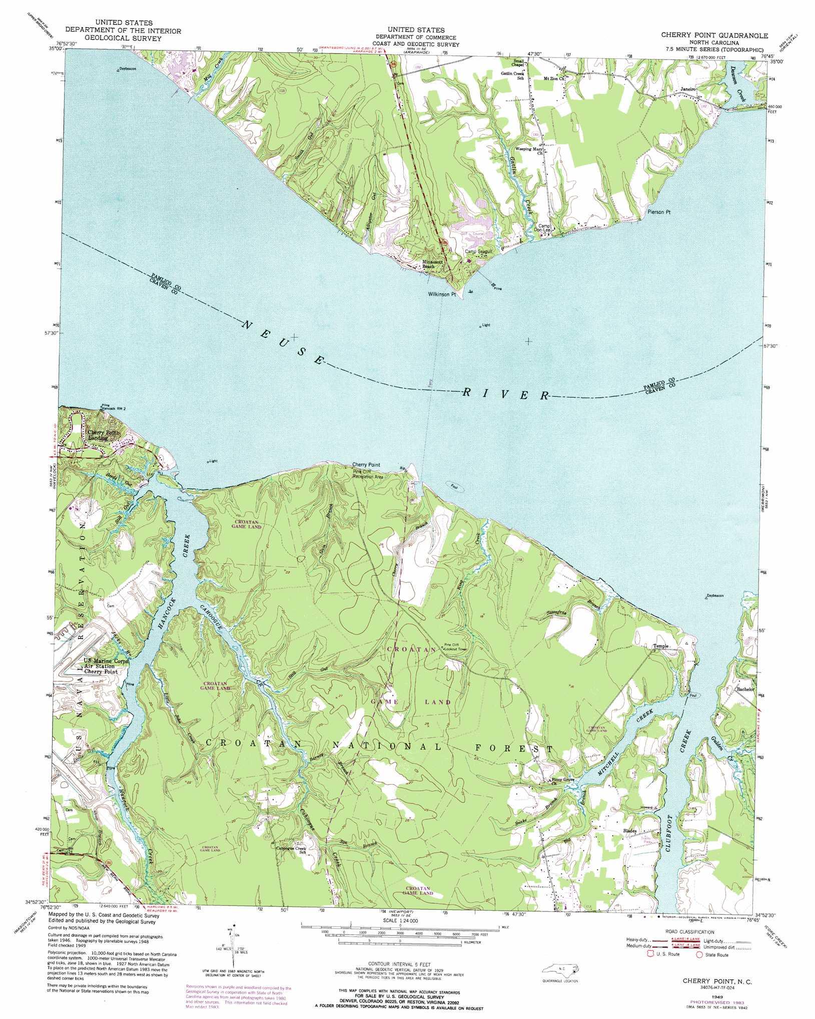 Cherry Point Topographic Map Nc Usgs Topo Quad 34076h7
