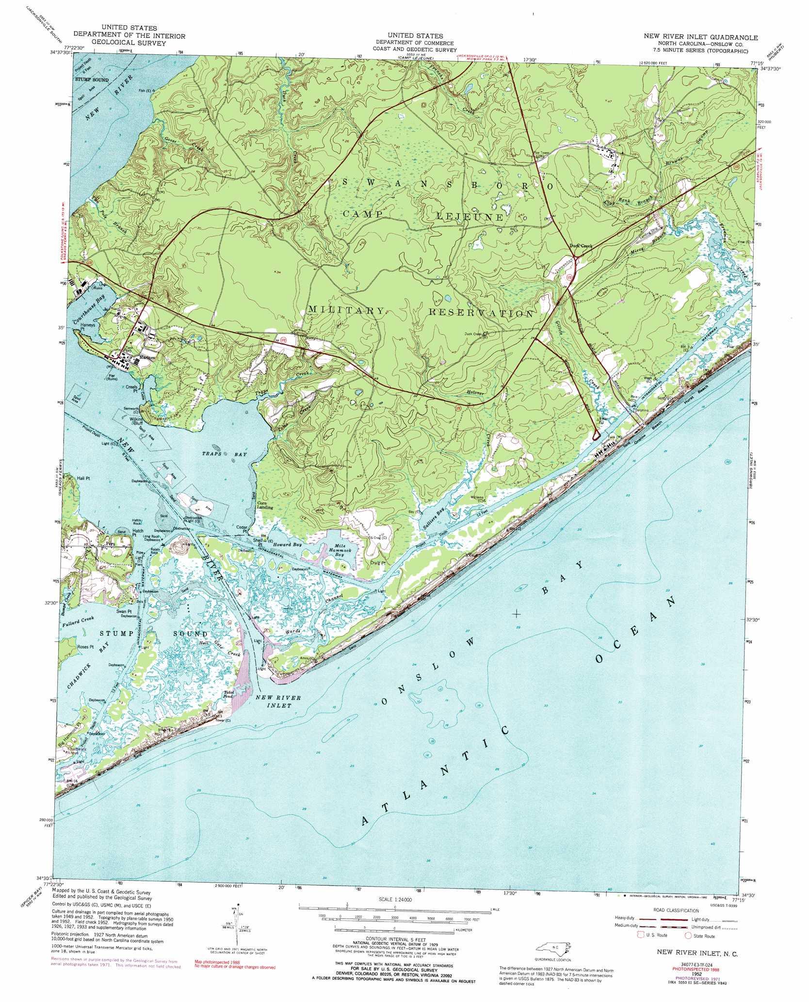 New River Inlet Topographic Map Nc Usgs Topo Quad 34077e3