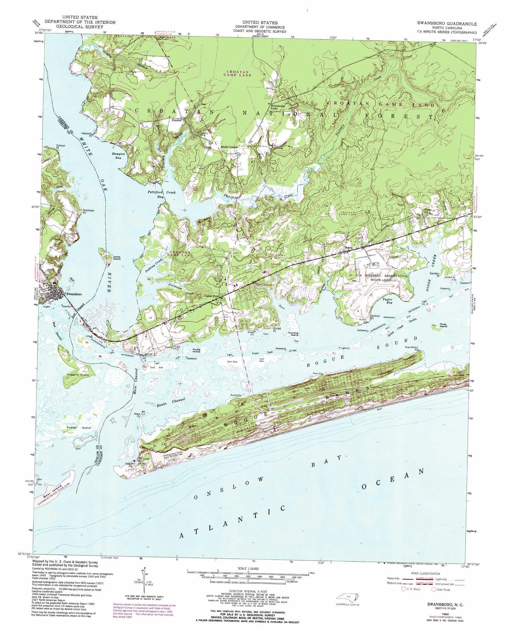 Swansboro Topographic Map Nc Usgs Topo Quad 34077f1