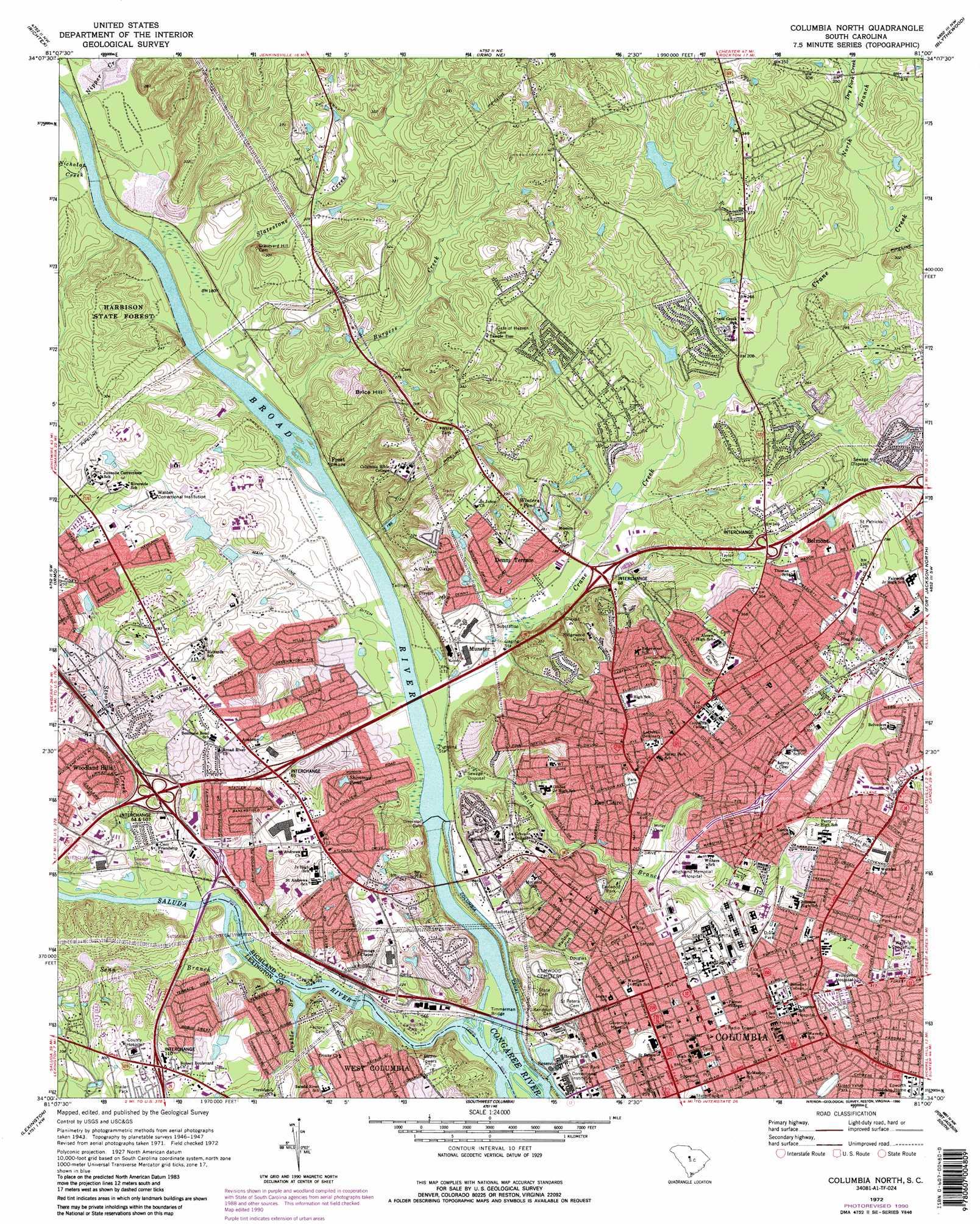 Columbia North topographic map, SC - USGS Topo Quad 34081a1