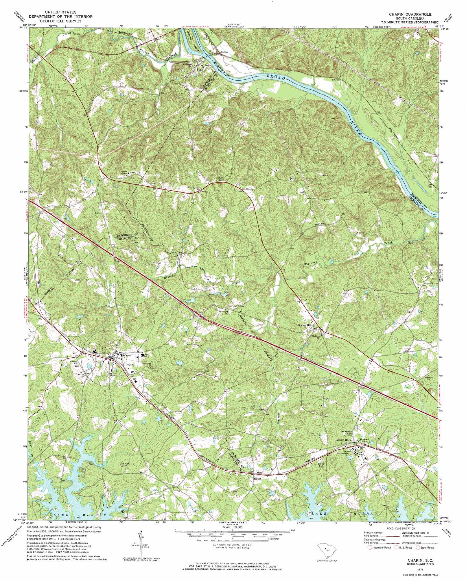 Chapin topographic map, SC - USGS Topo Quad 34081b3
