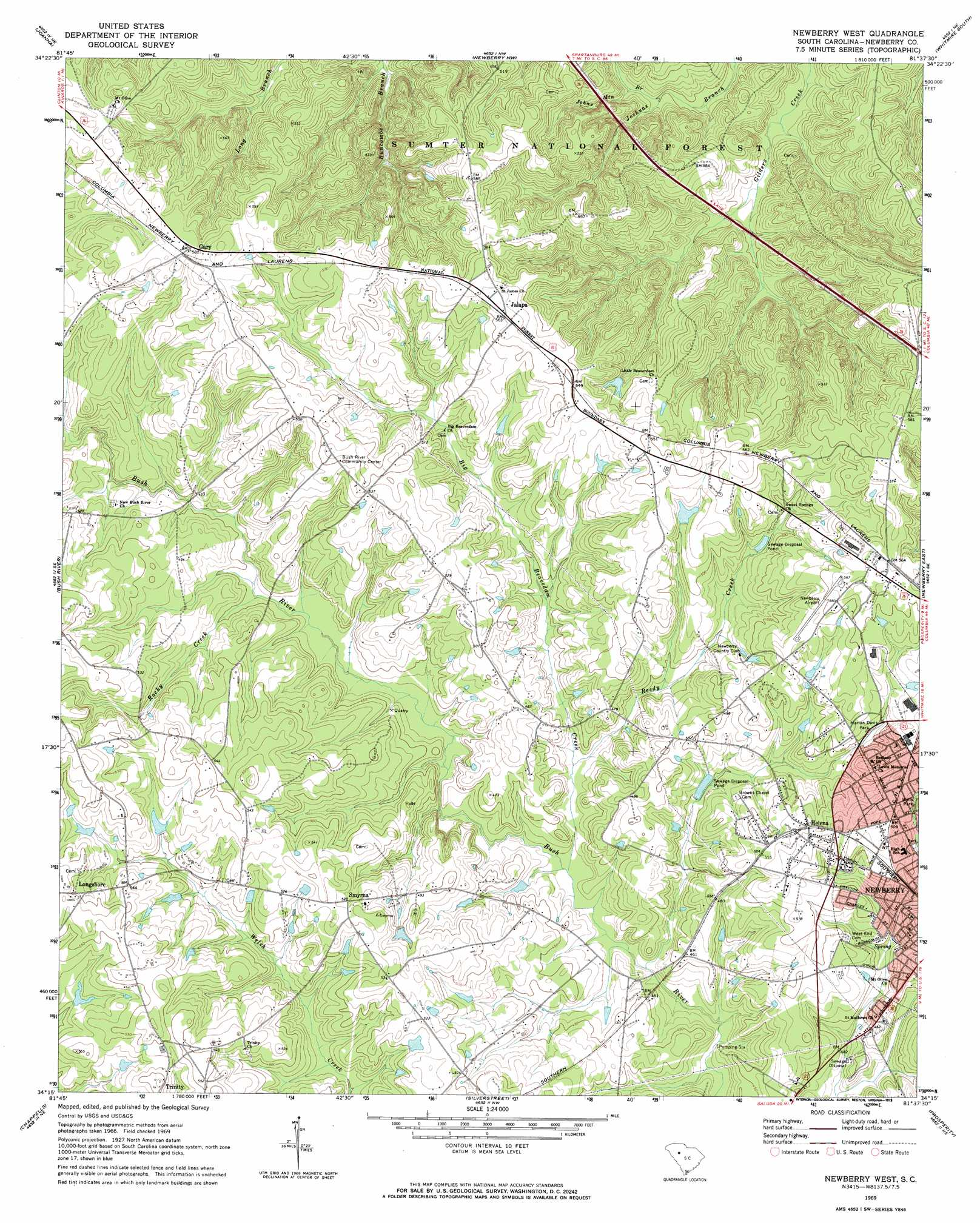 Newberry West topographic map, SC - USGS Topo Quad 34081c6