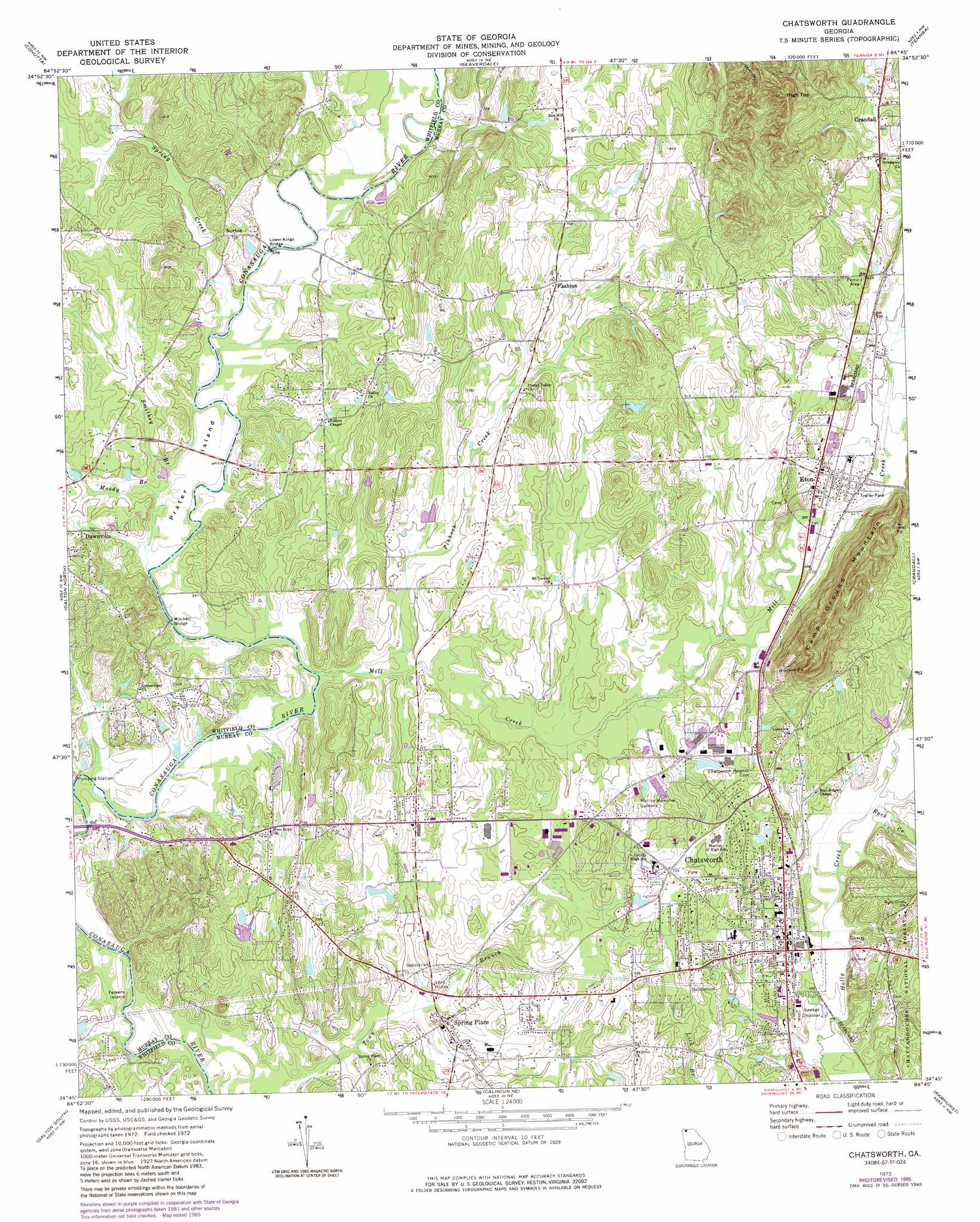 Chatsworth topographic map GA USGS Topo Quad 34084g7