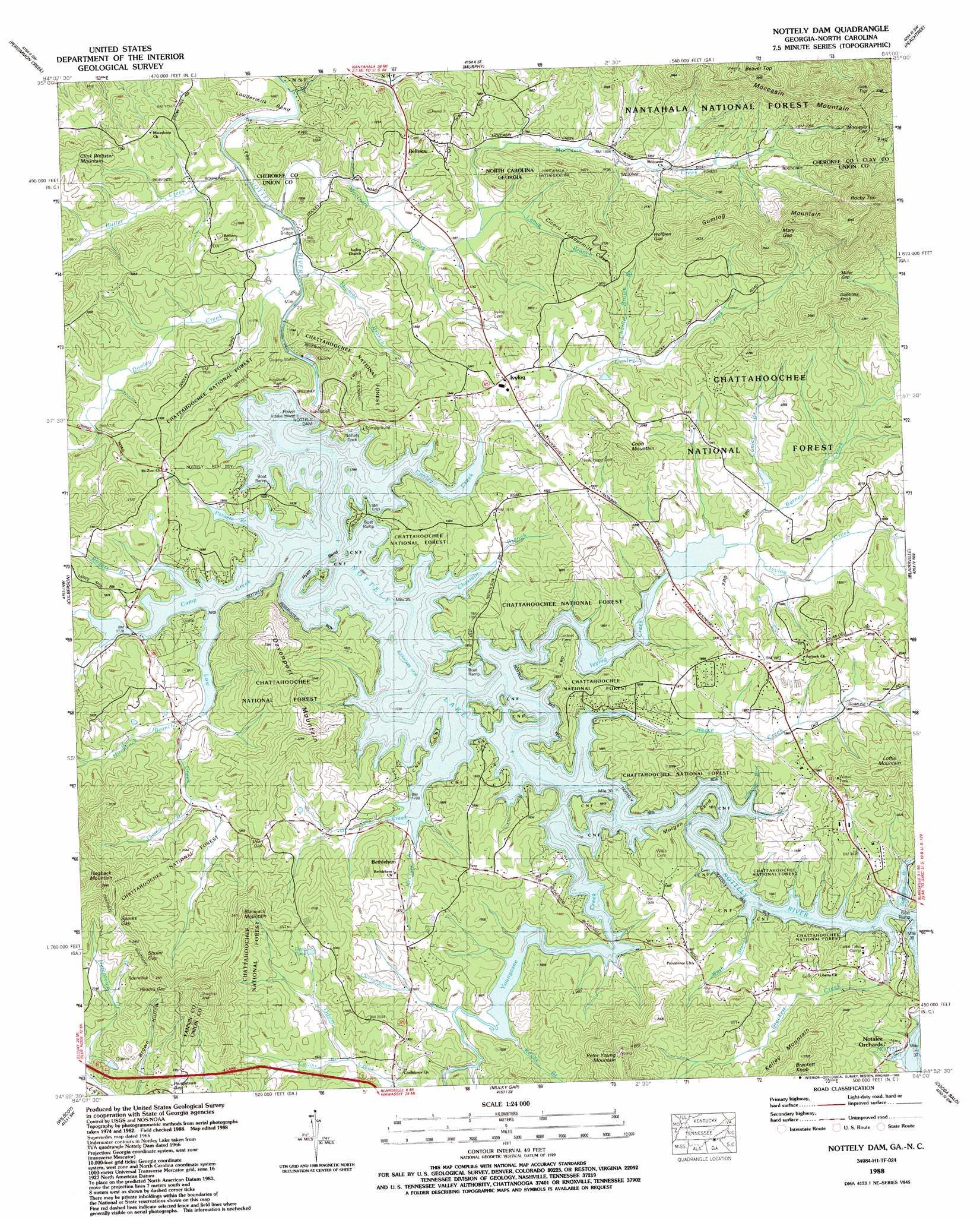 Nottely Dam Topographic Map Ga Nc Usgs Topo Quad 34084h1