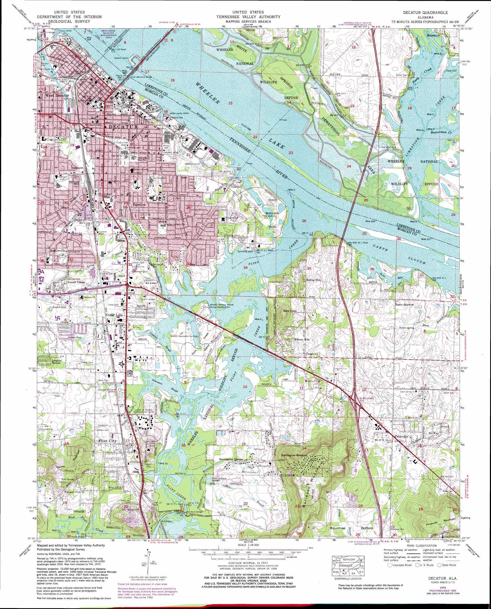 Decatur topographic map AL USGS Topo Quad 34086e8