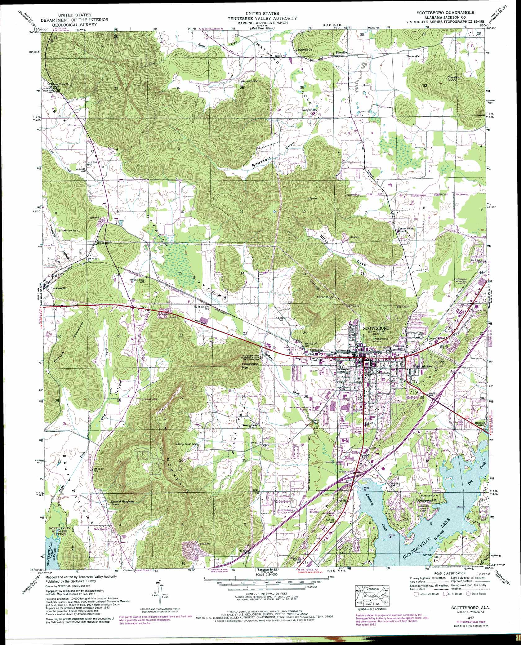 Scottsboro Topographic Map AL  USGS Topo Quad 34086f1