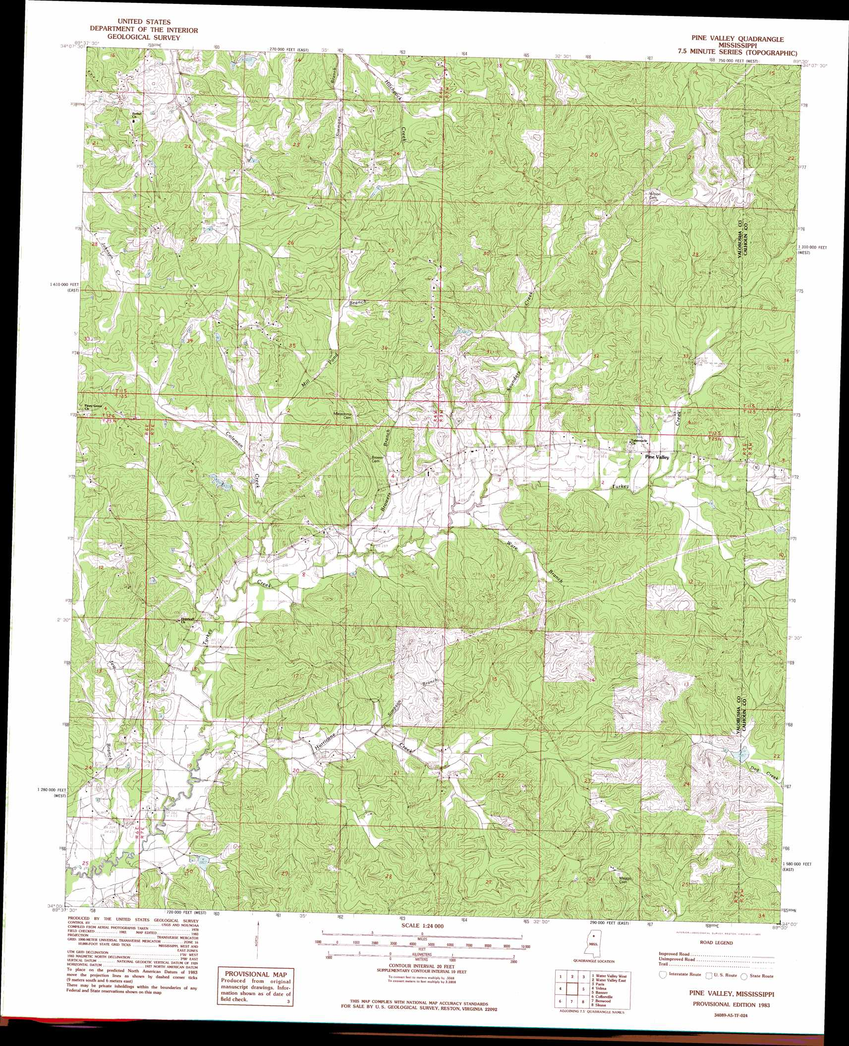 Pine Valley topographic map, MS - USGS Topo Quad 34089a5