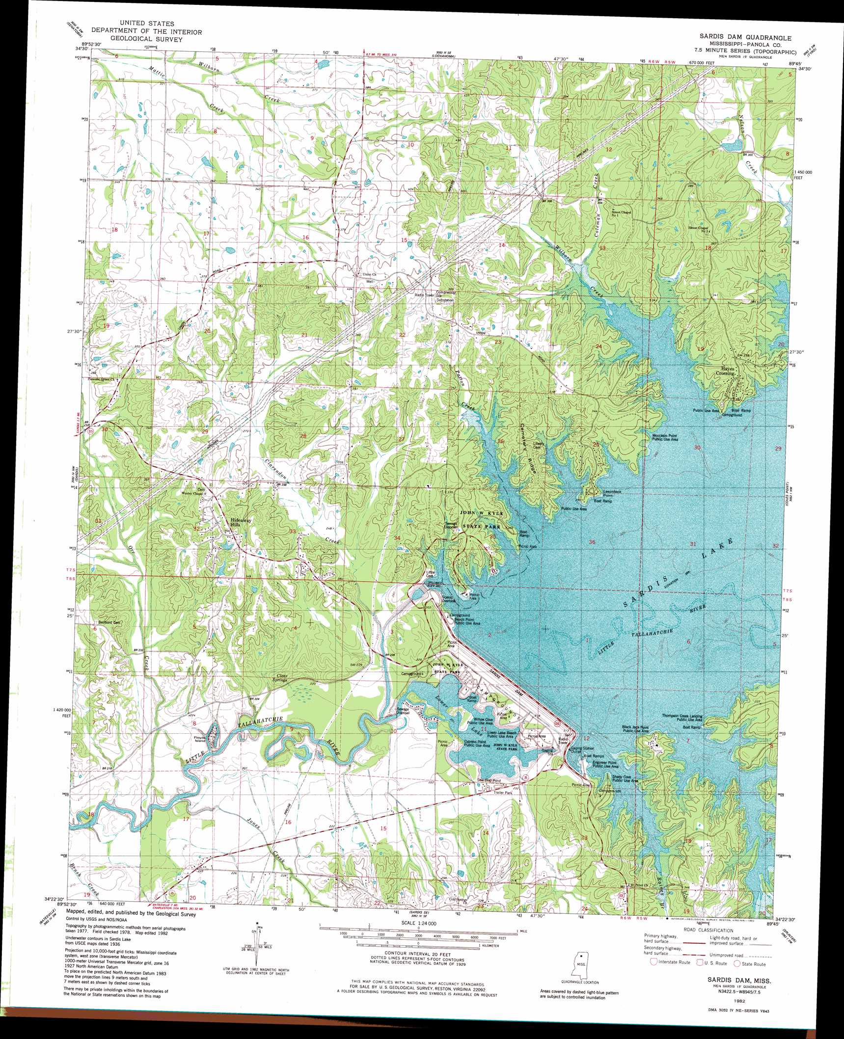 Sardis Dam Topographic Map Ms Usgs Topo Quad 34089d7