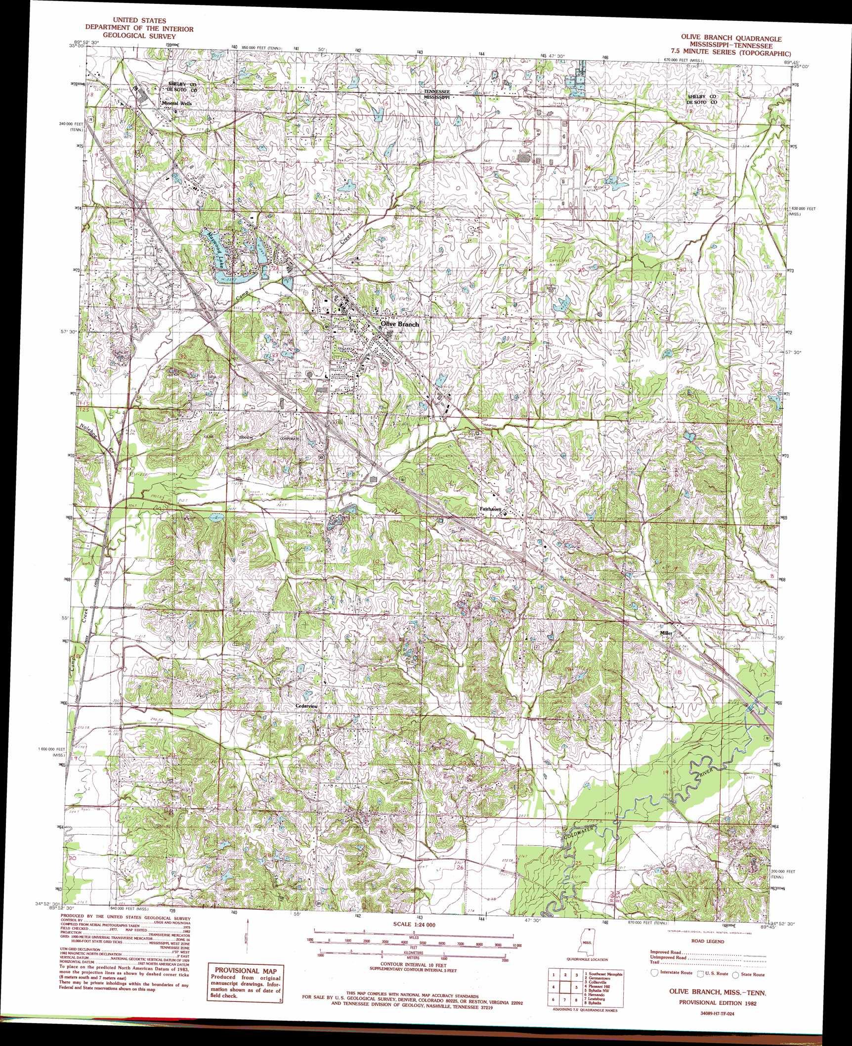 Olive Branch topographic map MS TN USGS Topo Quad 34089h7