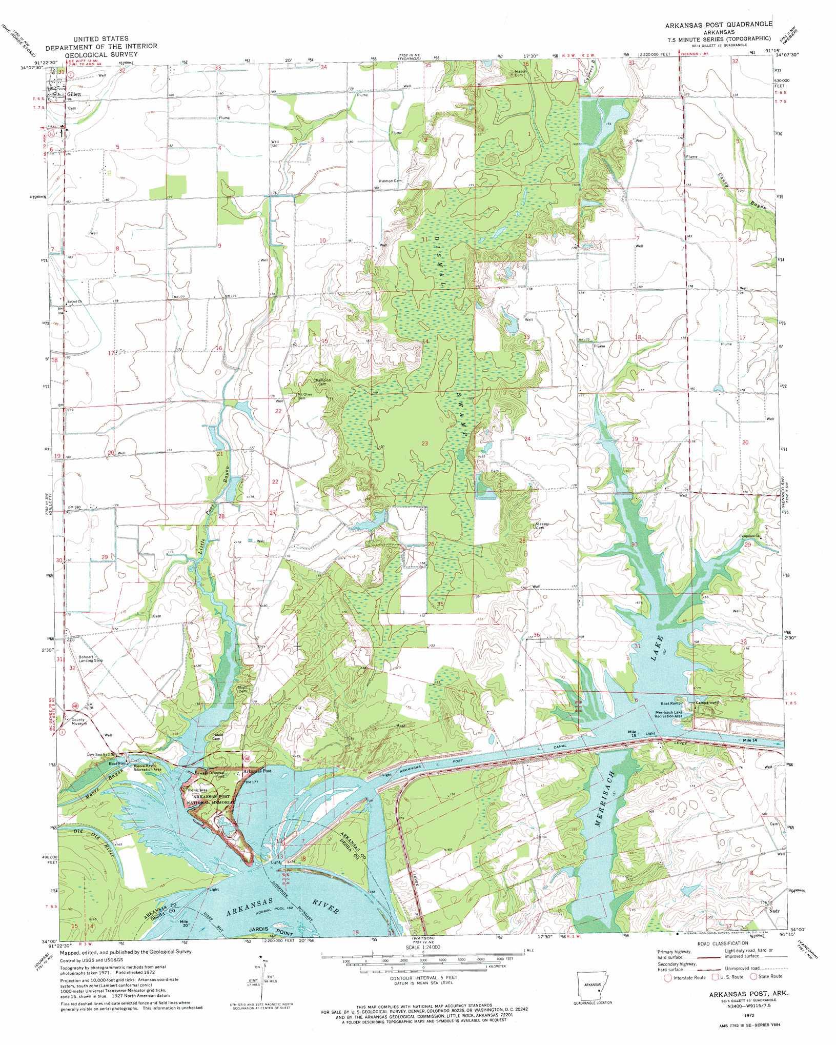 Arkansas Post Topographic Map AR - USGS Topo Quad 34091a3