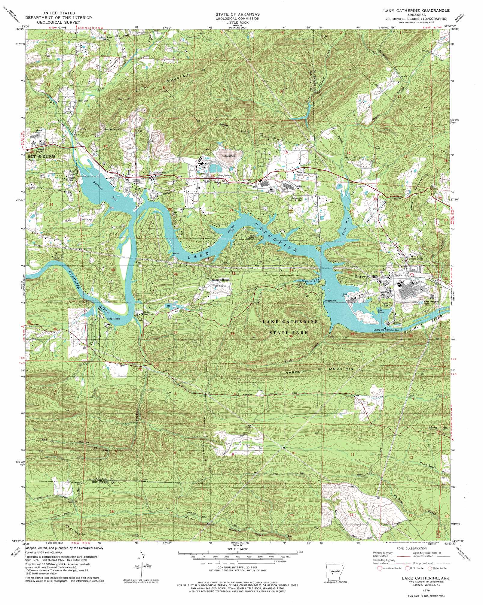 Lake Catherine Topographic Map AR USGS Topo Quad D - Lake contour maps free