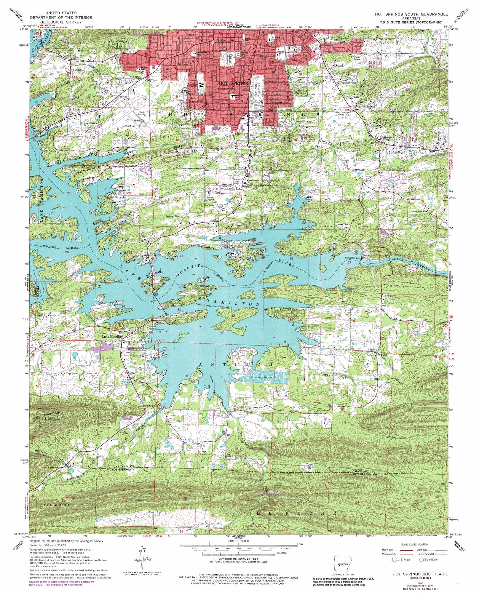 Hot Springs South topographic map, AR - USGS Topo Quad 34093d1