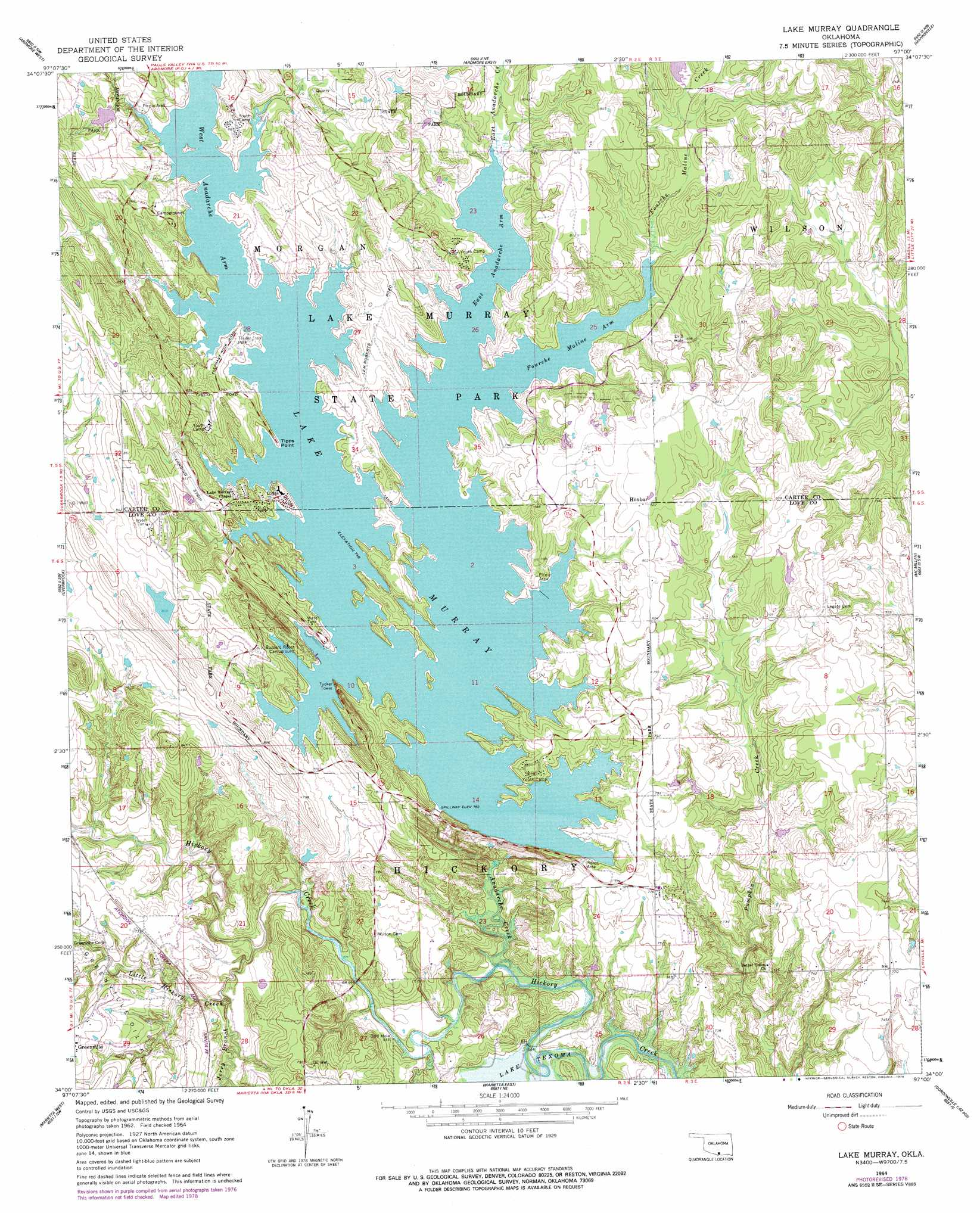 lake murray topographic map Lake Murray Topographic Map Ok Usgs Topo Quad 34097a1 lake murray topographic map
