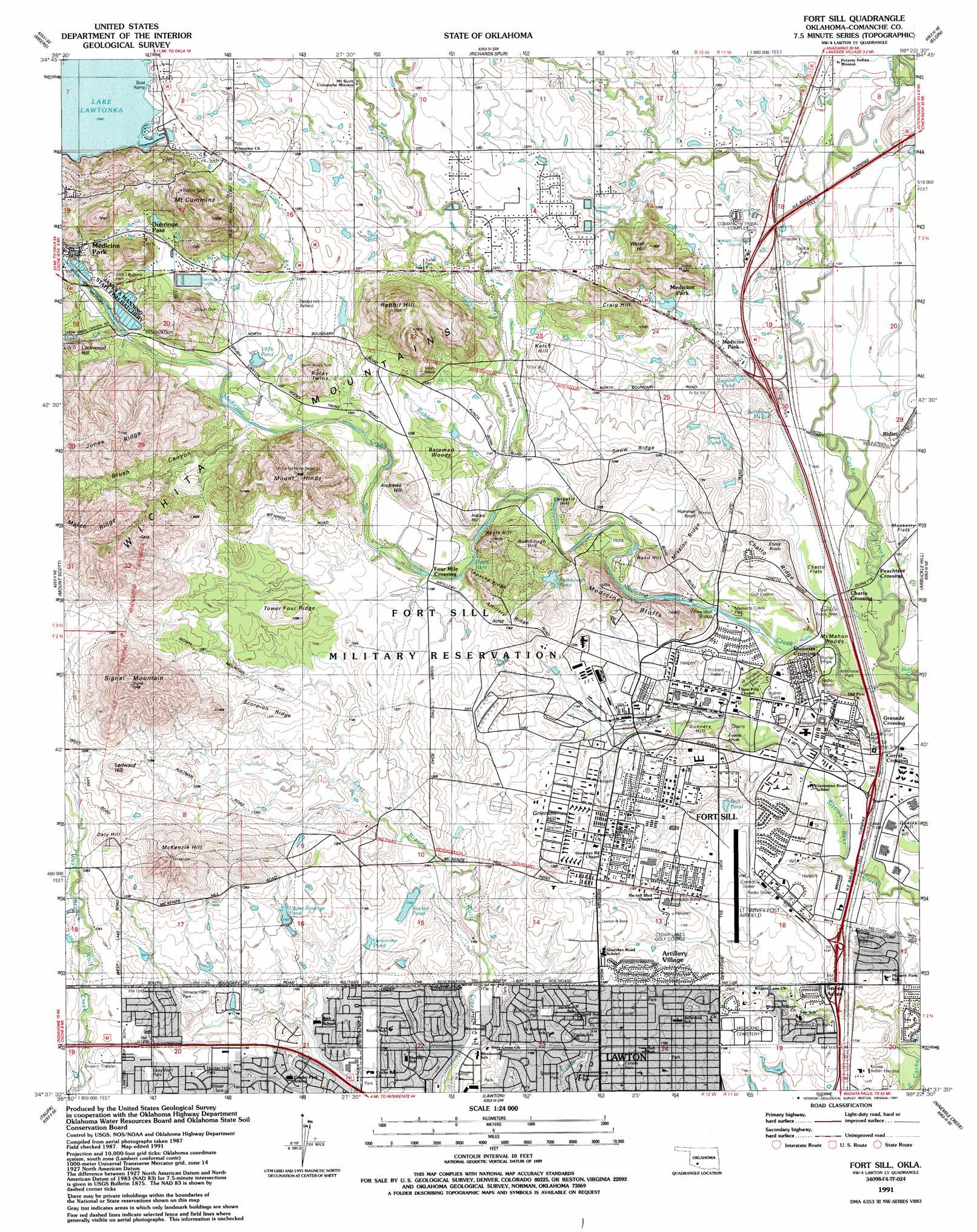 Fort Sill Topographic Map OK  USGS Topo Quad 34098f4
