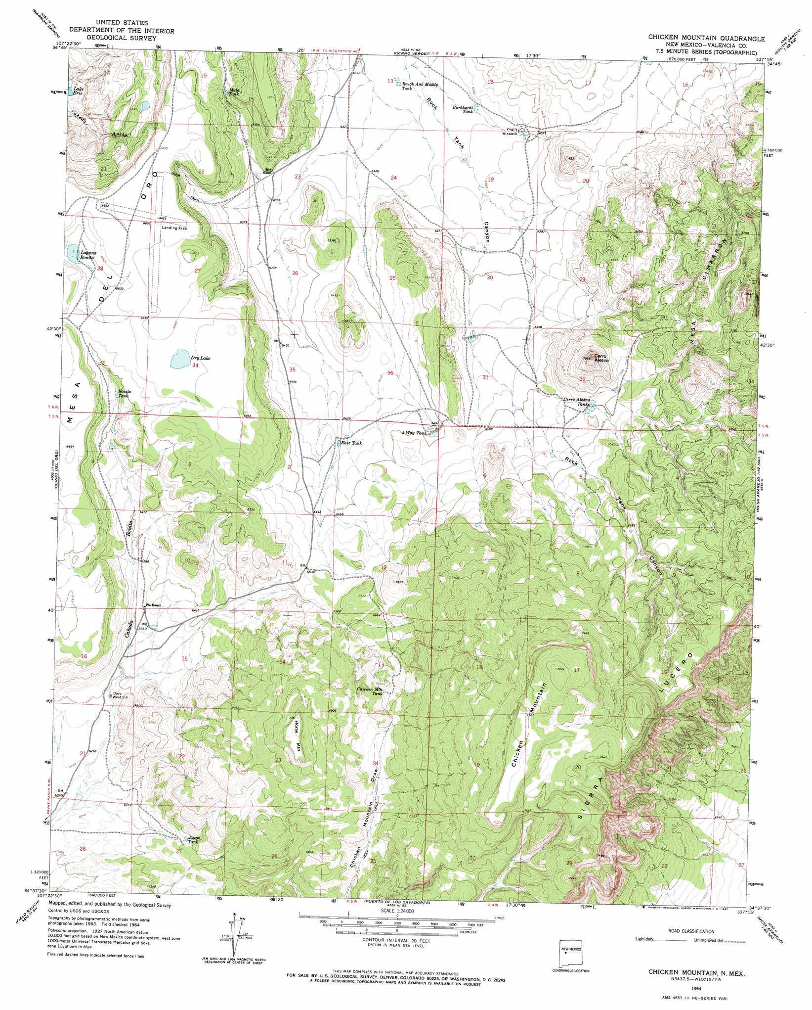 Chicken Mountain Topographic Map NM  USGS Topo Quad 34107f3