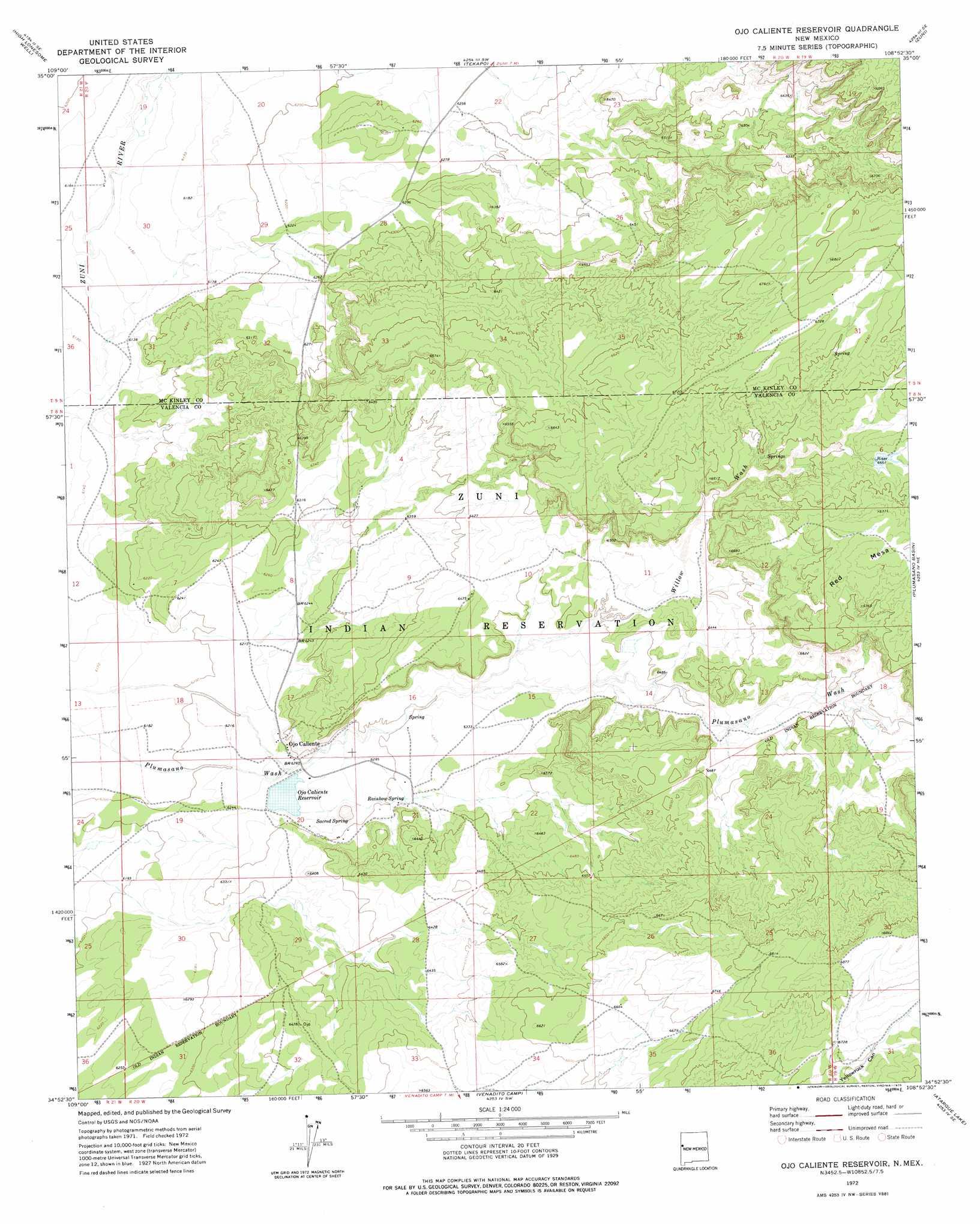 Ojo Caliente New Mexico Map.Ojo Caliente Reservoir Topographic Map Nm Usgs Topo Quad 34108h8