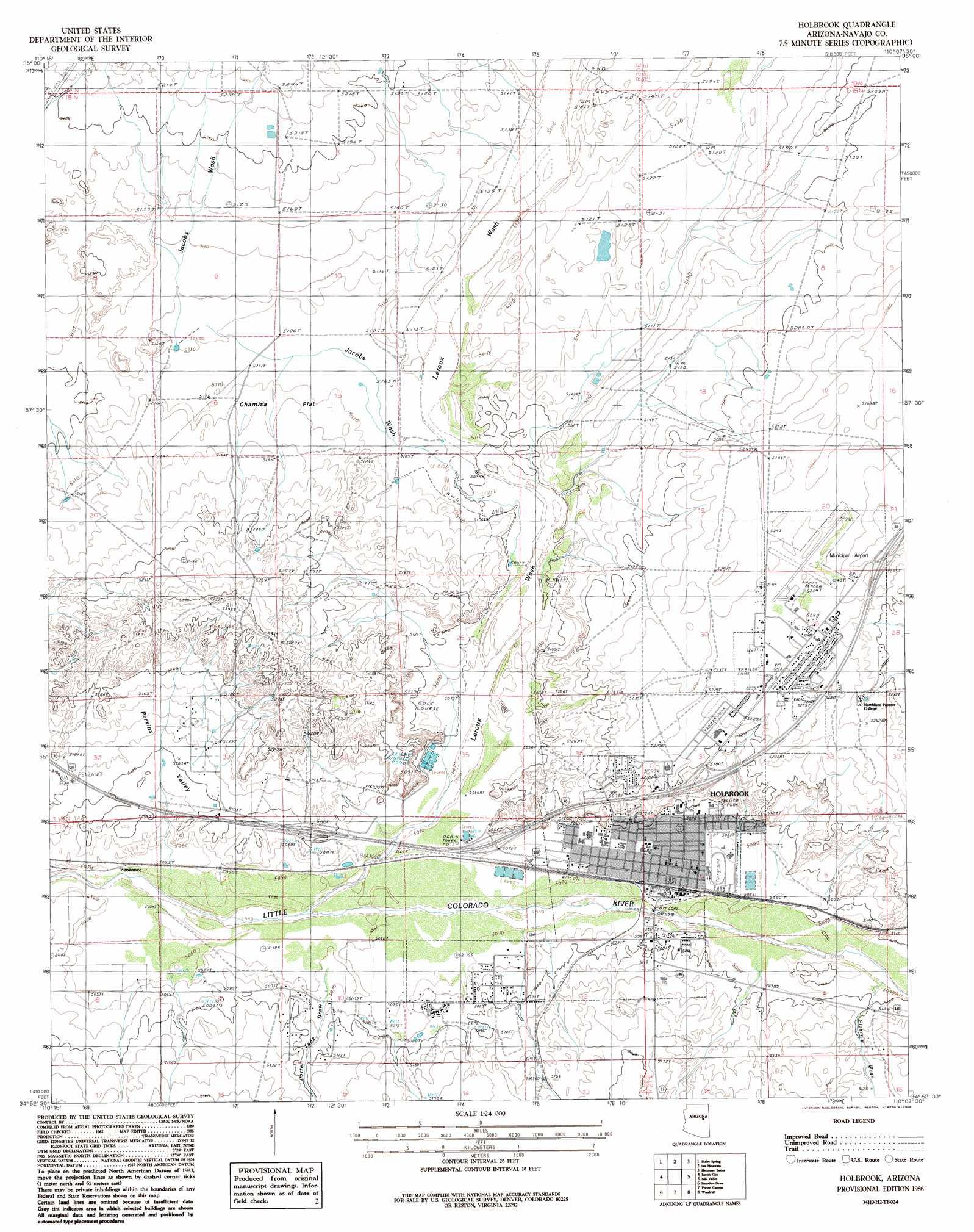 Holbrook Topographic Map AZ  USGS Topo Quad 34110h2