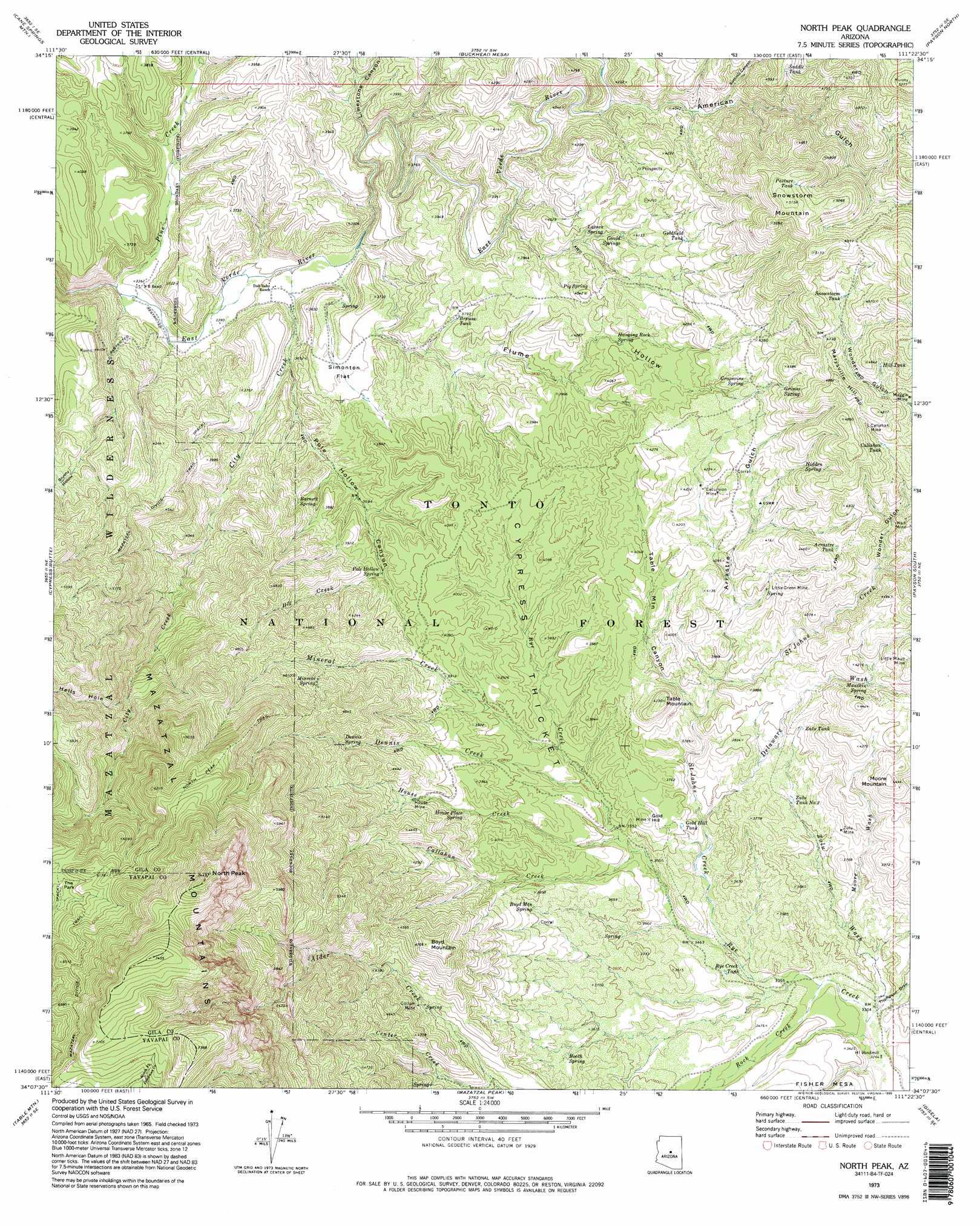 North Peak topographic map, AZ - USGS Topo Quad 34111b4