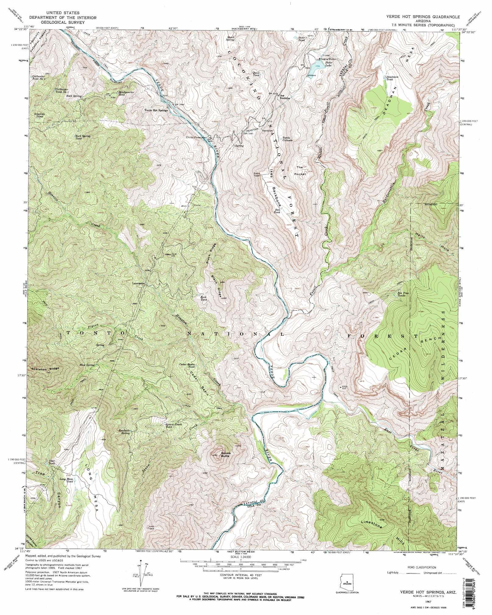 Map Of Arizona Hot Springs.Verde Hot Springs Topographic Map Az Usgs Topo Quad 34111c6