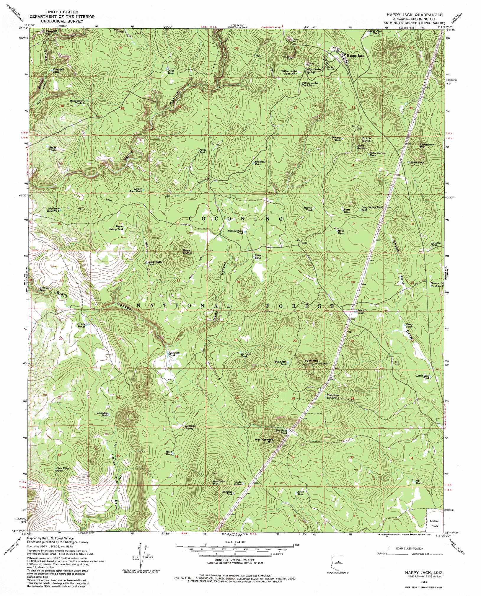 Happy Jack Arizona Map.Happy Jack Topographic Map Az Usgs Topo Quad 34111f4
