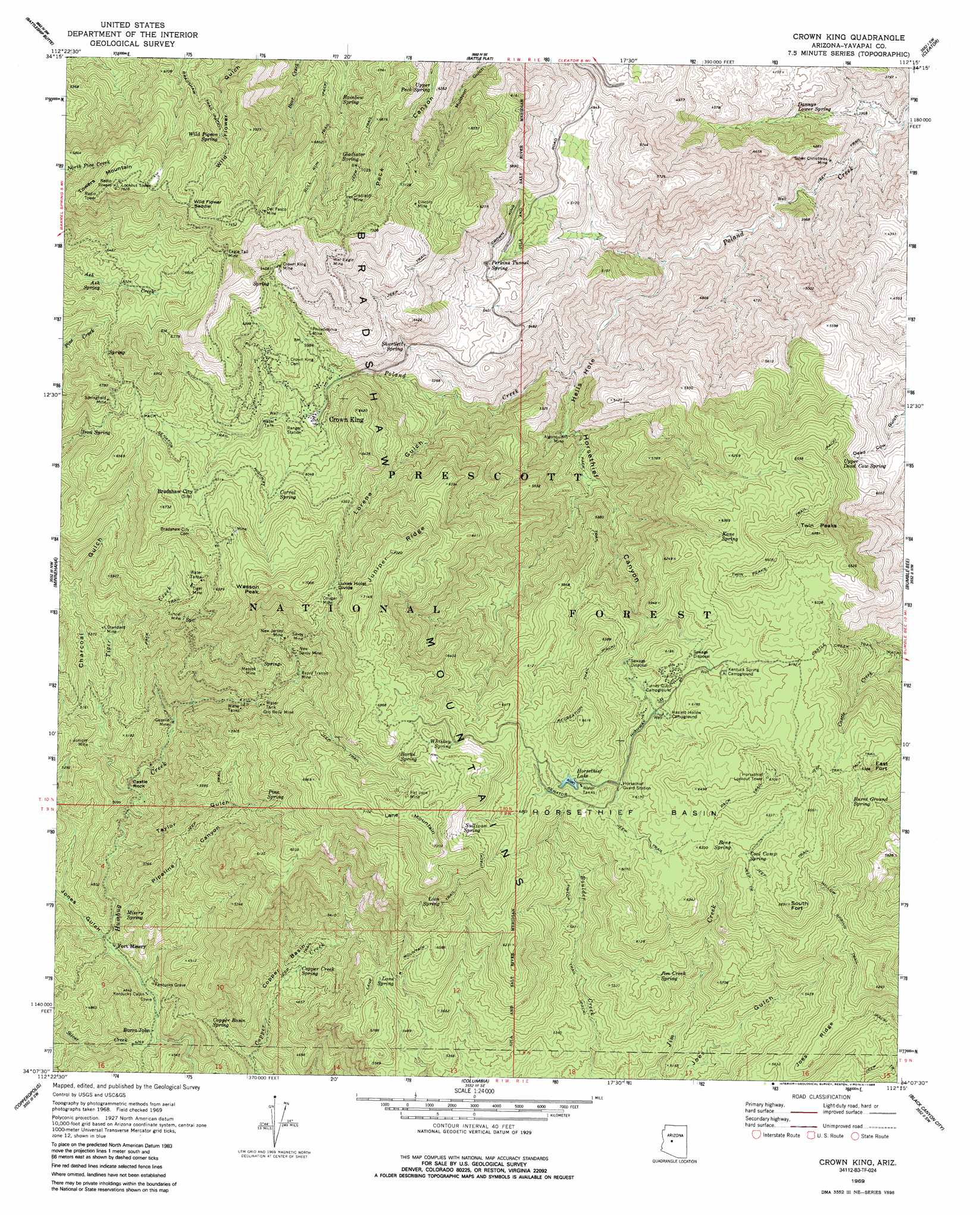 Map Of Crown King Arizona.Crown King Topographic Map Az Usgs Topo Quad 34112b3