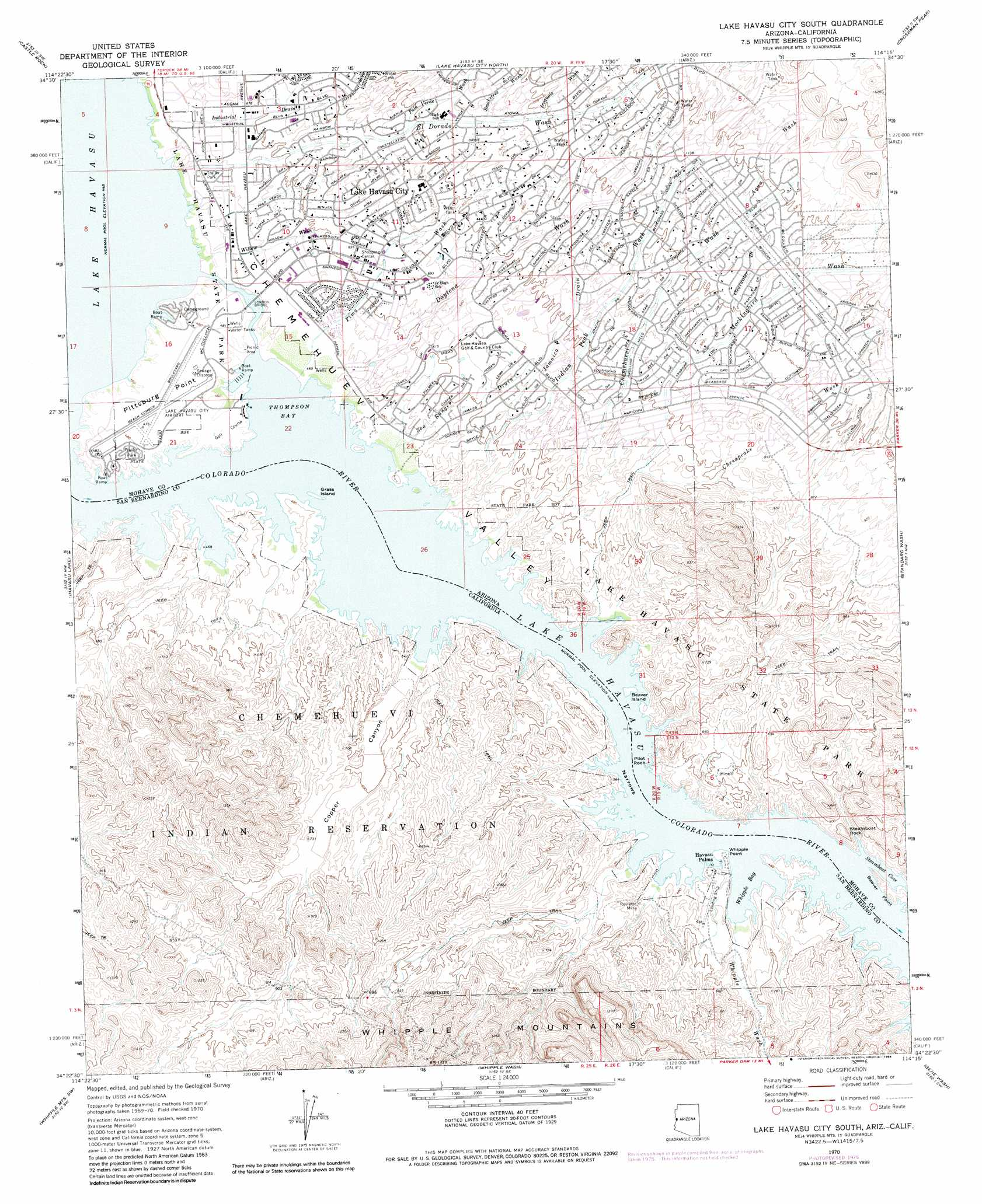 Lake Havasu City South topographic map AZ CA USGS Topo Quad 34114d3