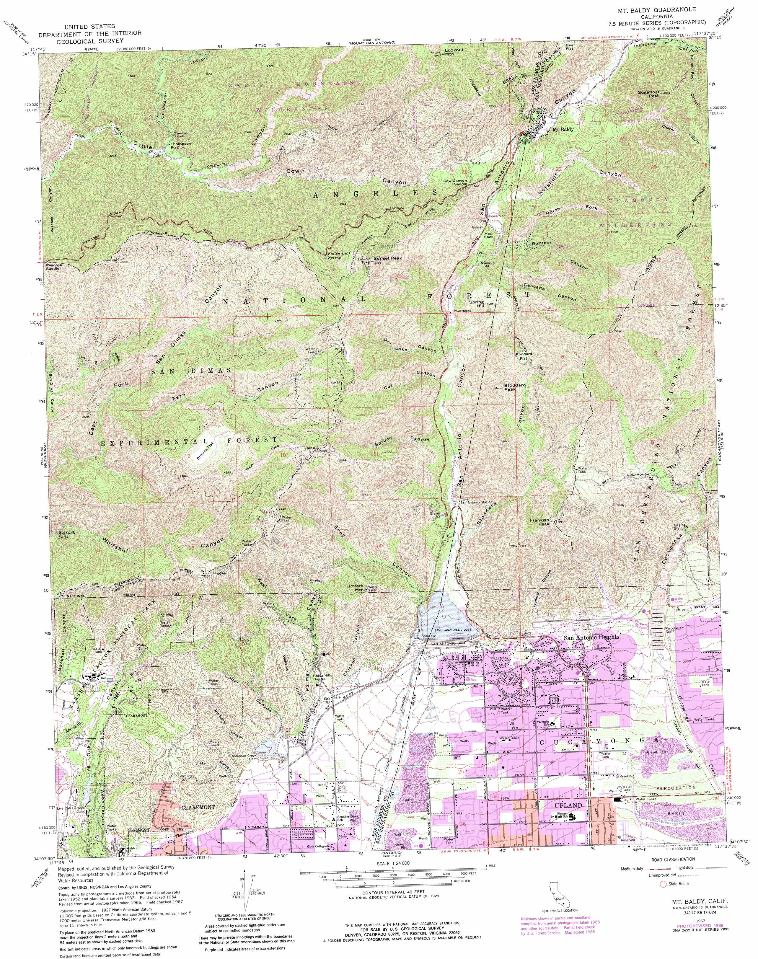 Mount Baldy Topographic Map CA USGS Topo Quad B - Mt baldy map on map of us