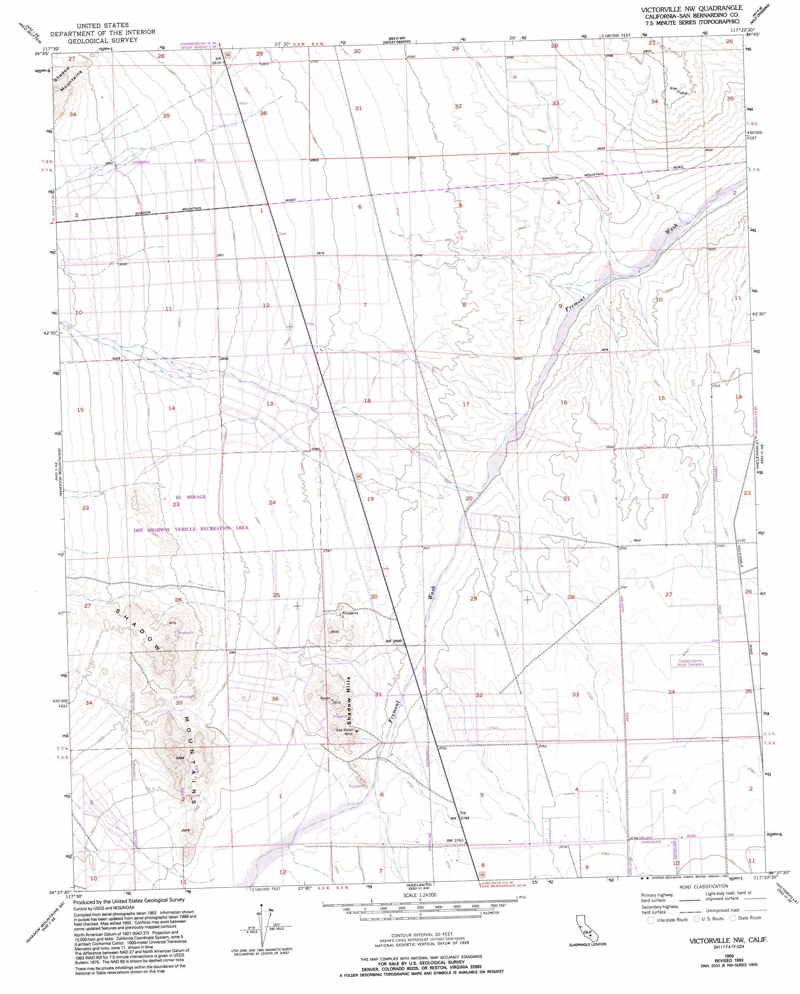 Victorville Nw Topographic Map CA USGS Topo Quad F - Us geological survey topographic maps for sale